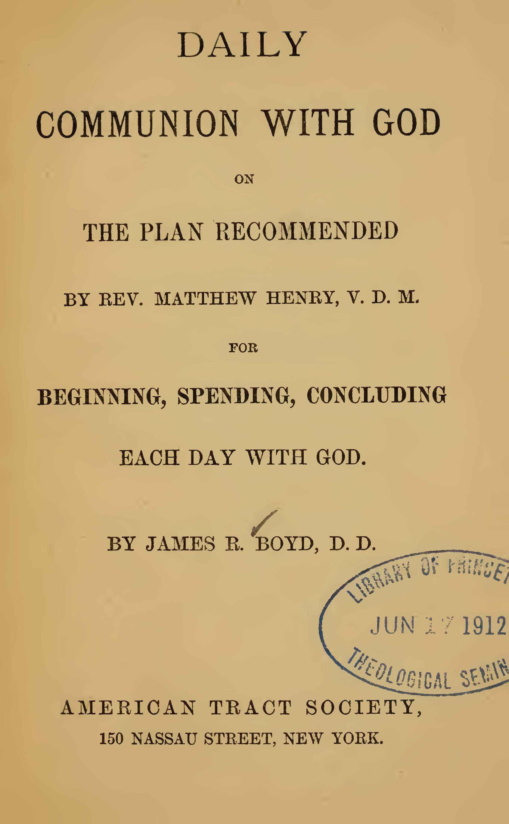 Boyd, James Robert, Daily Communion with God Title Page.jpg