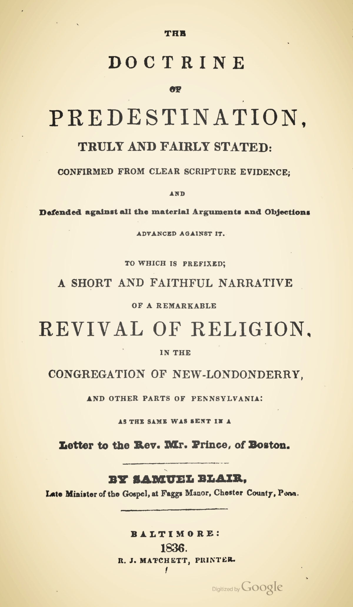Blair, Samuel, The Doctrine of Predestination, Truly and Fairly Stated Title Page.jpg