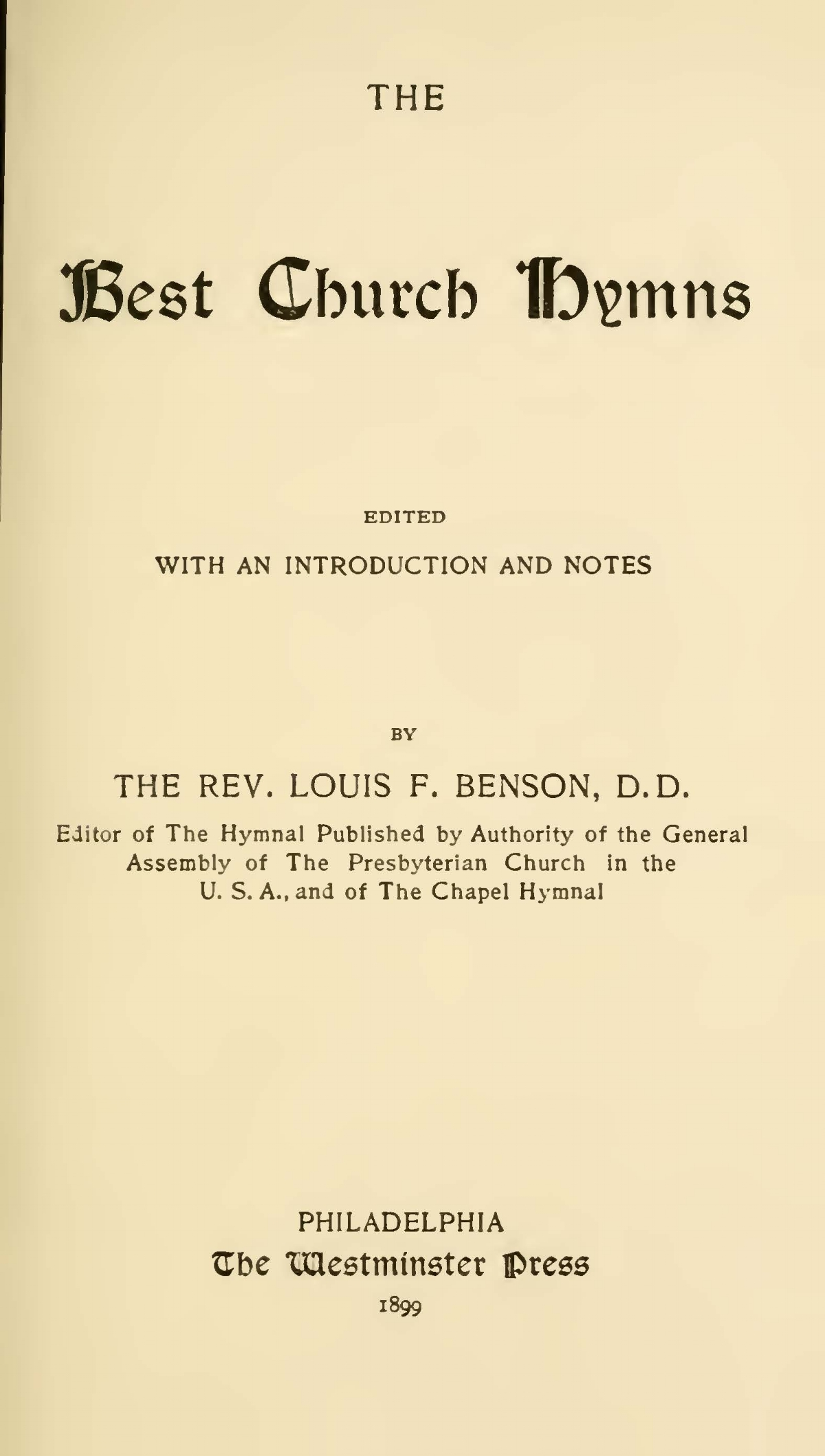 Benson, Louis FitzGerald, The Best Church Hymns Title Page.jpg