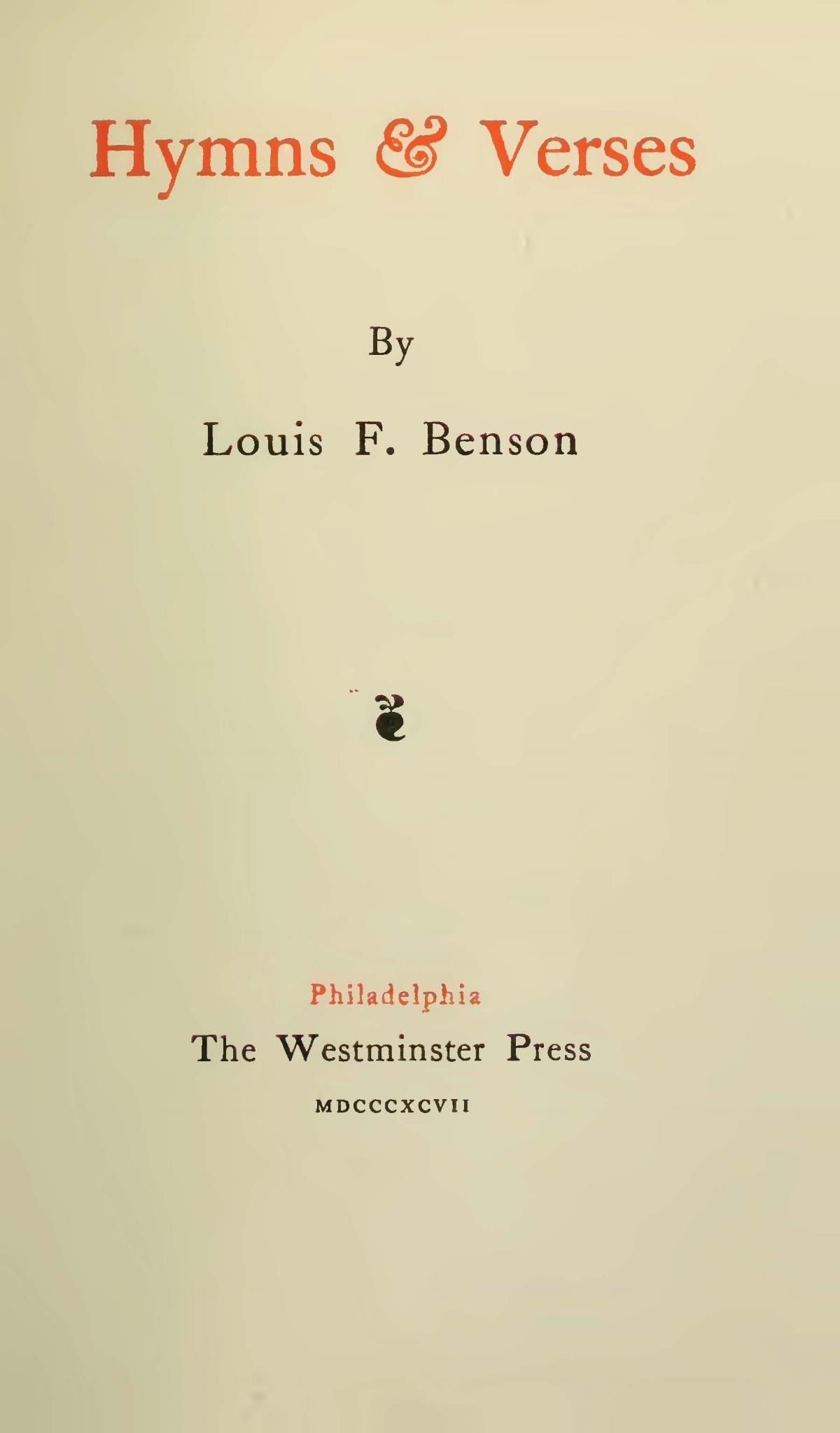 Benson, Louis FitzGerald, Hymns & Verses Title Page.jpg