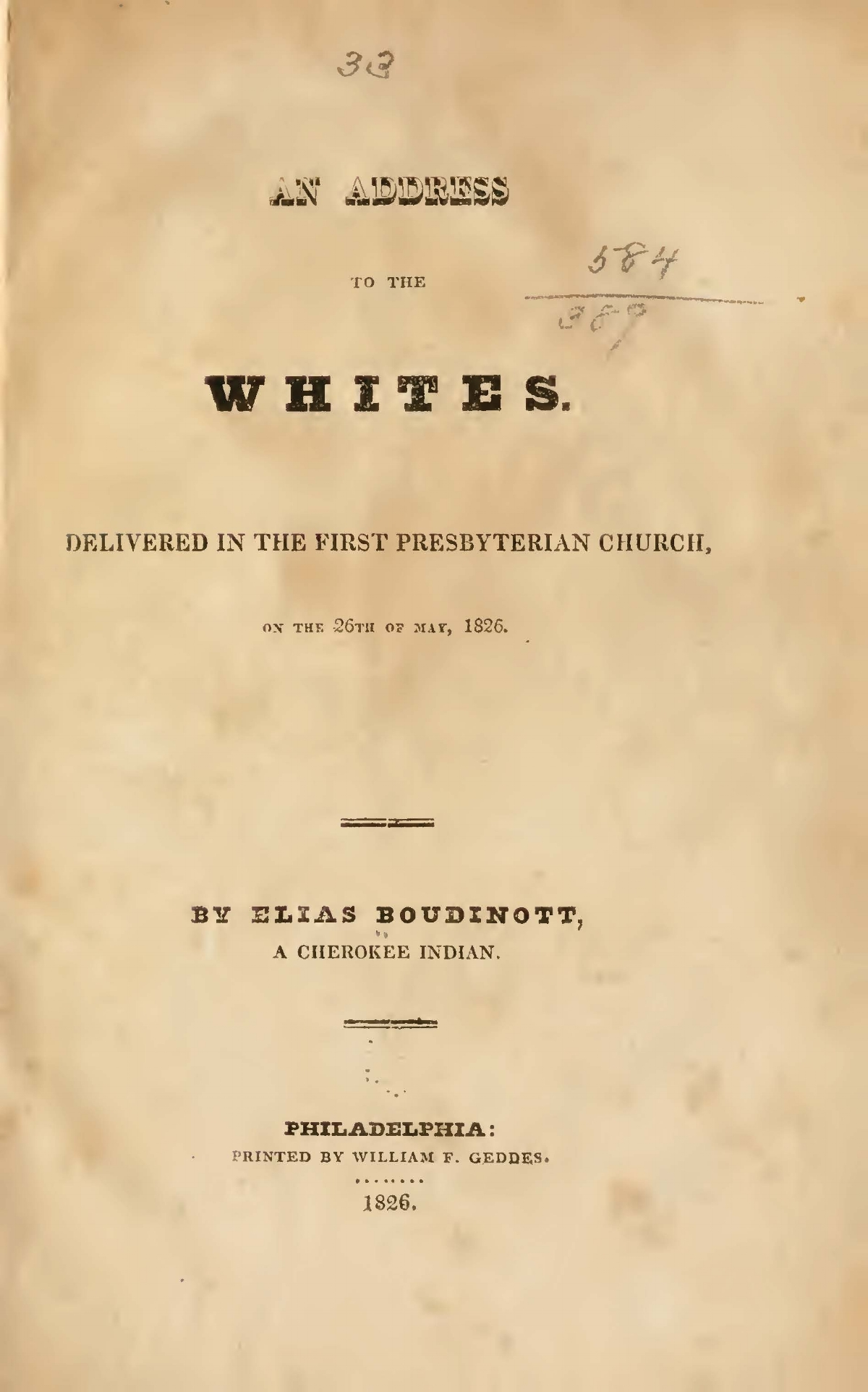 Boudinot, Elias, An Address to the Whites Title Page.jpg