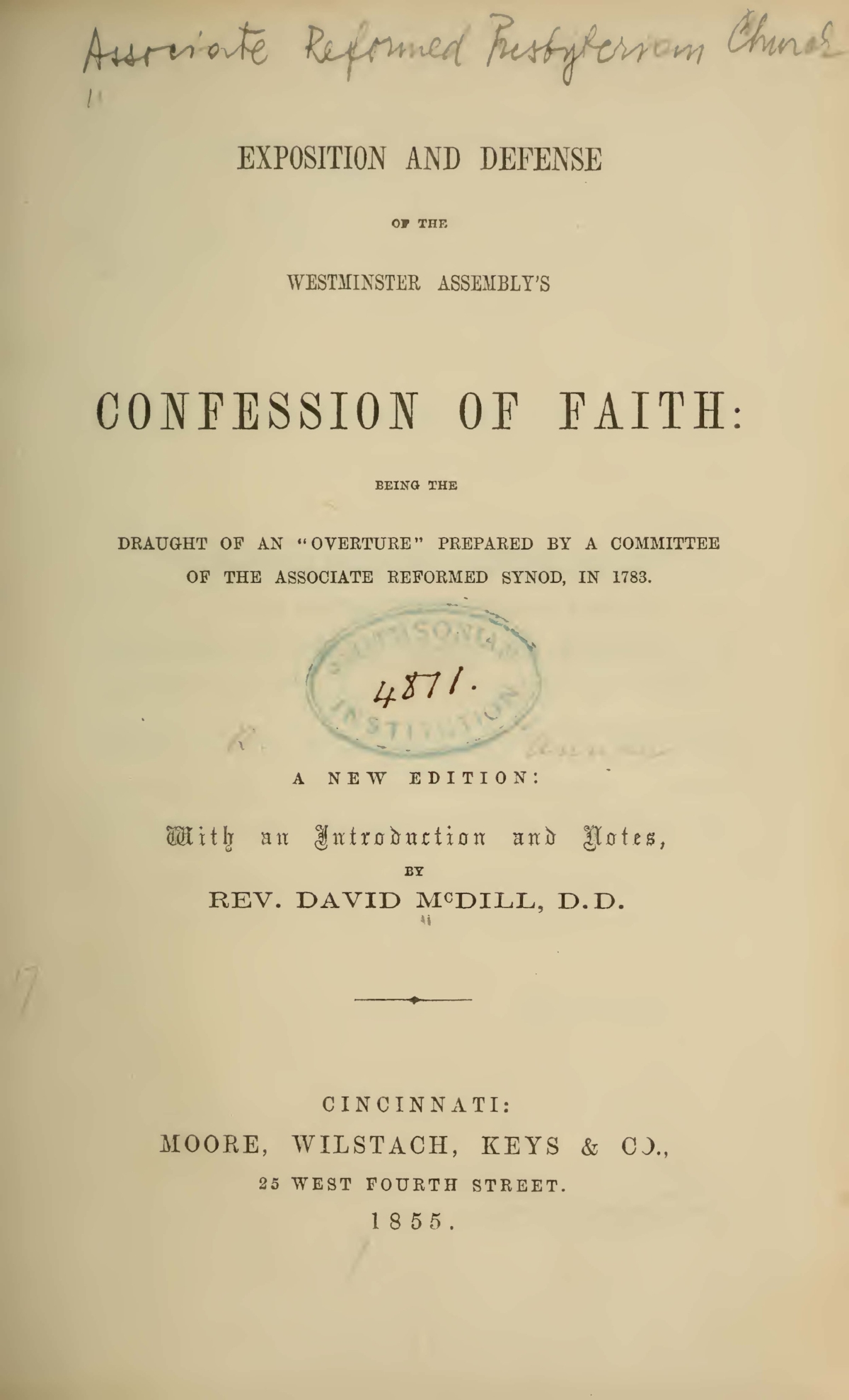 Annan, Robert, Exposition and Defense of the Westminster Assembly's Confession of Faith Title Page.jpg