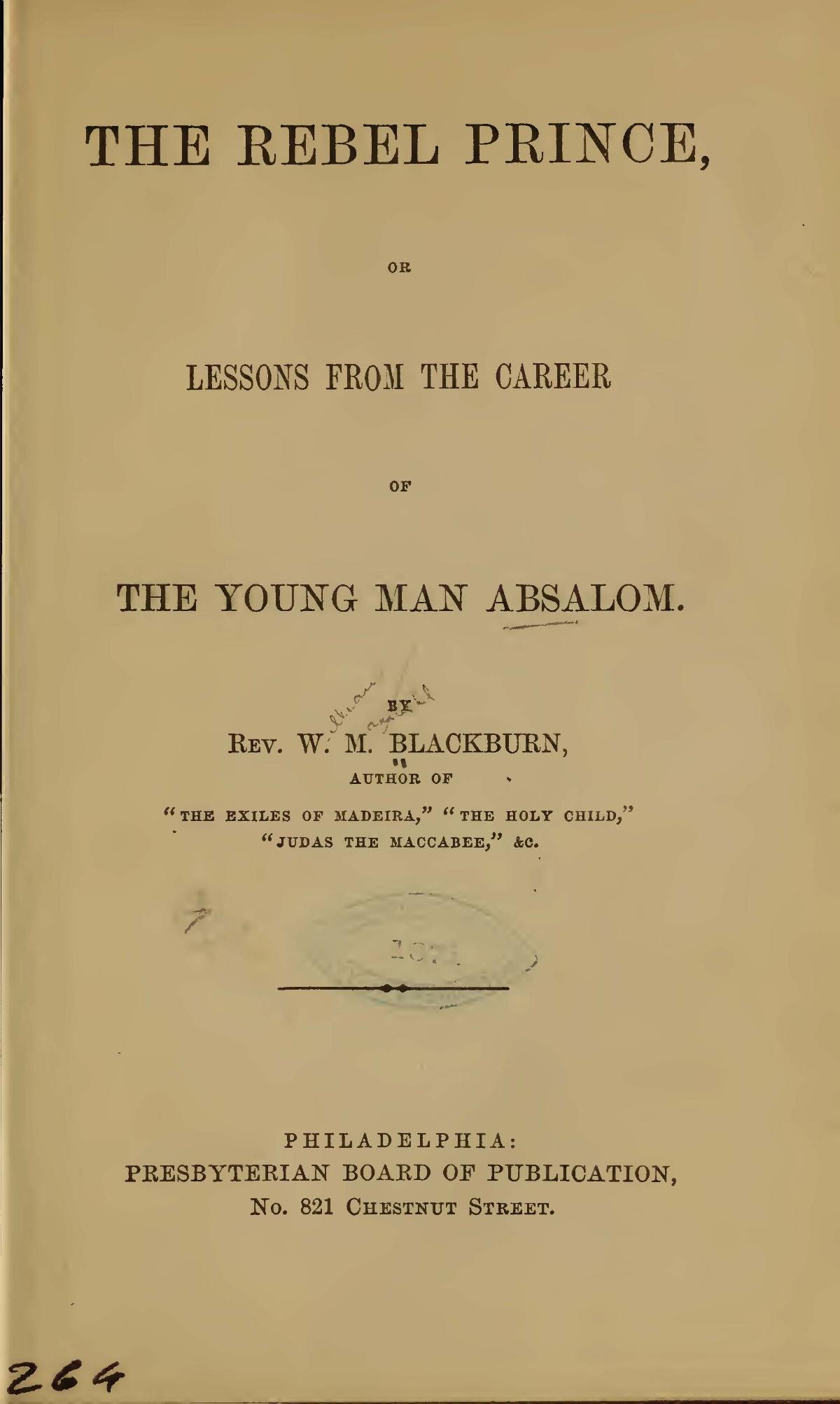 Blackburn, William Maxwell, The Rebel Prince Title Page.jpg