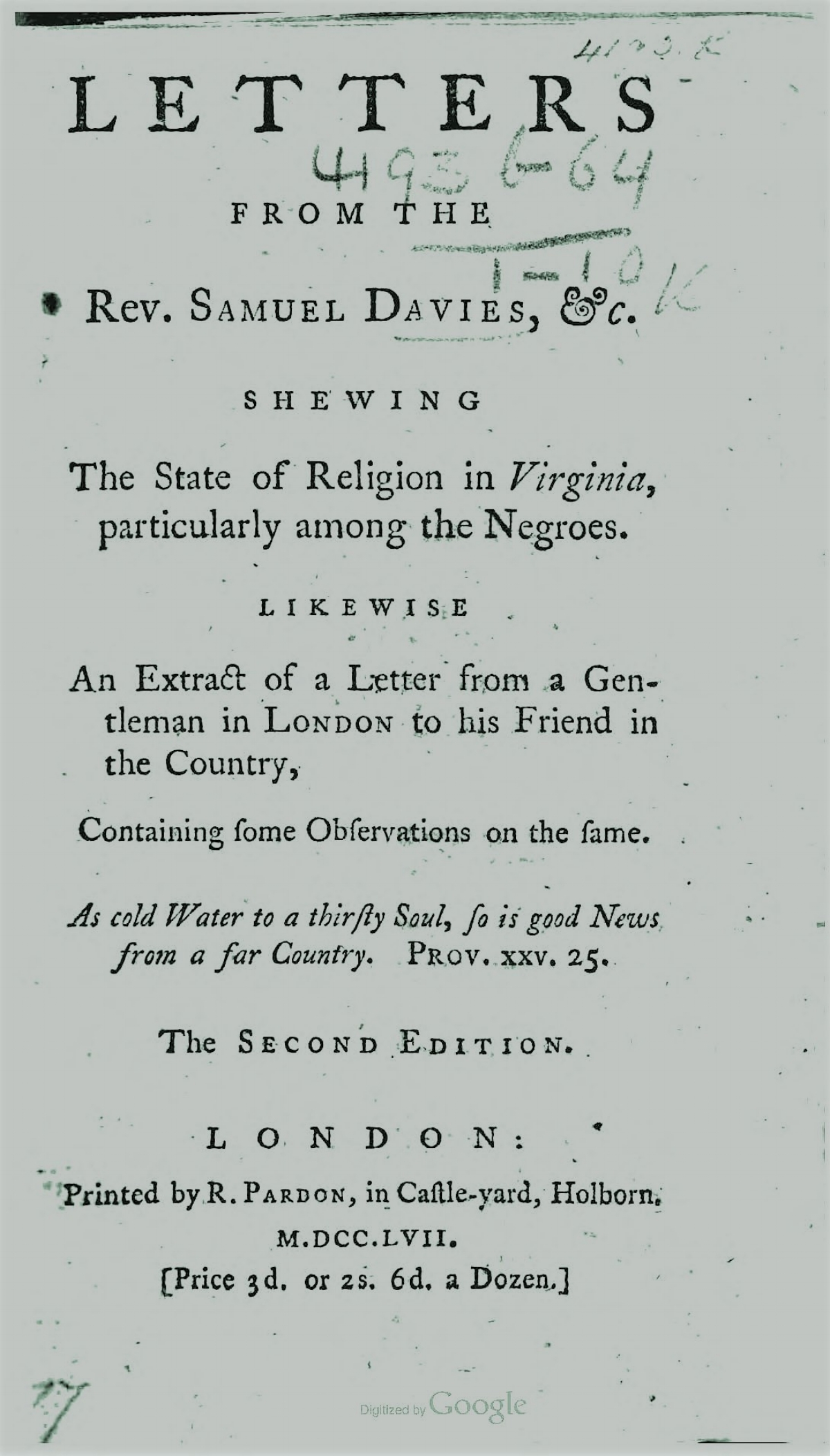 Davies, Samuel, Letters from the Rev Samuel Davies Title Page.jpg