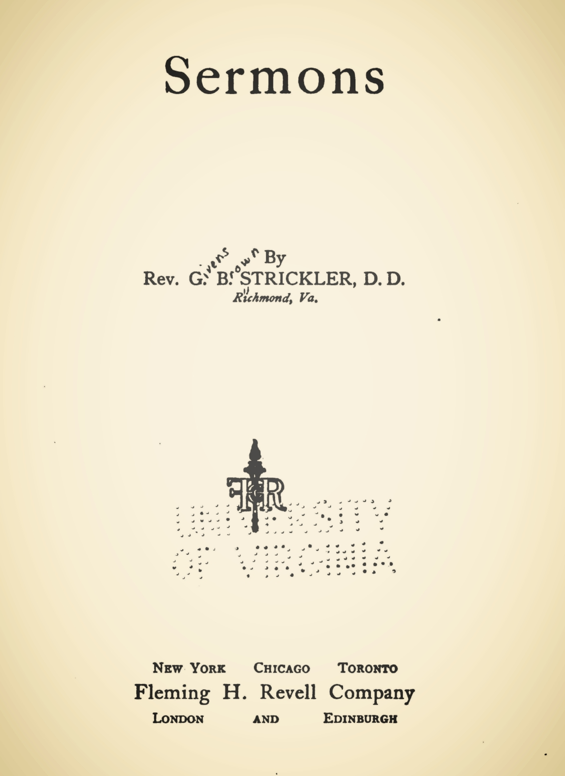 Strickler, Givens Brown, Sermons Title Page.jpg
