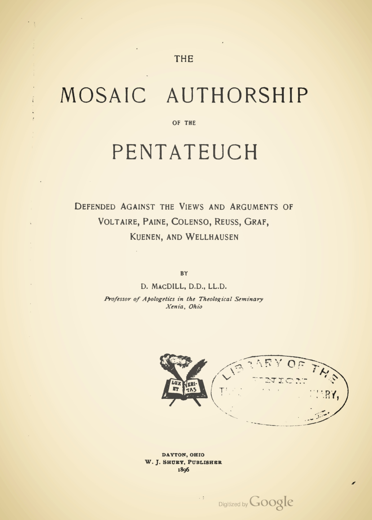 MacDill, David, The Mosaic Authorship of the Pentateuch Title Page.jpg