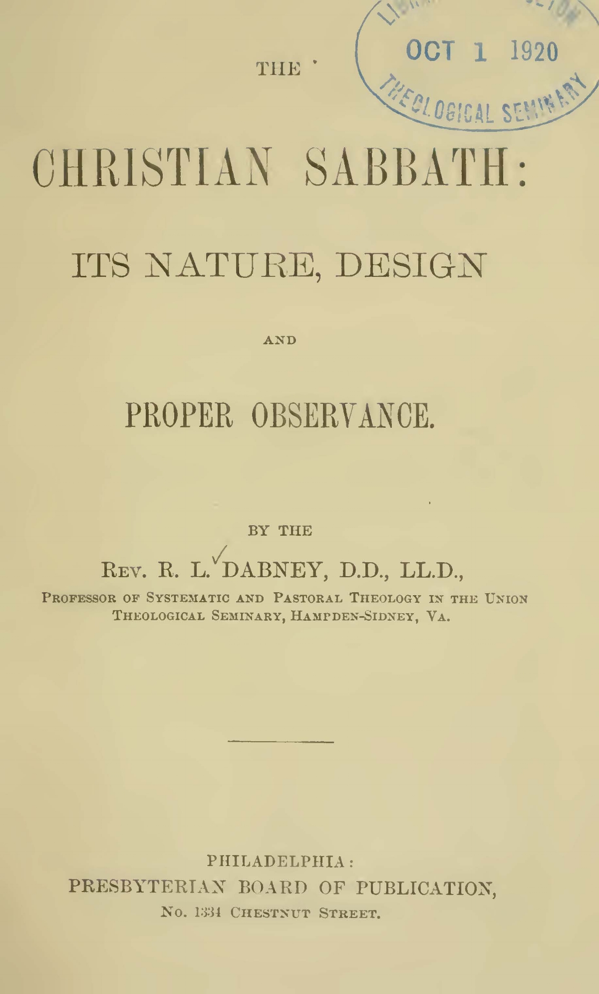 Dabney, Robert Lewis, The Christian Sabbath Title Page.jpg