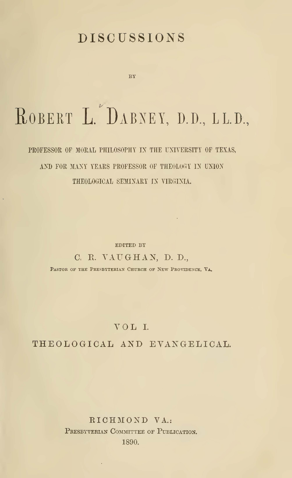 Dabney, Robert Lewis, Discussions Vol. 1 Title Page.jpg