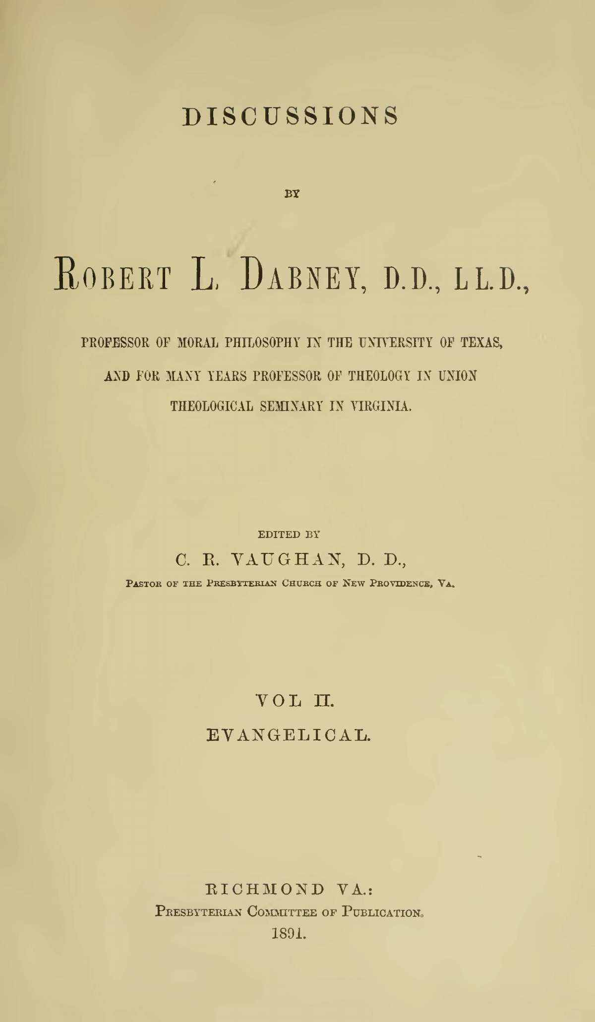 Dabney, Robert Lewis, Discussions Vol. 2 Title Page.jpg