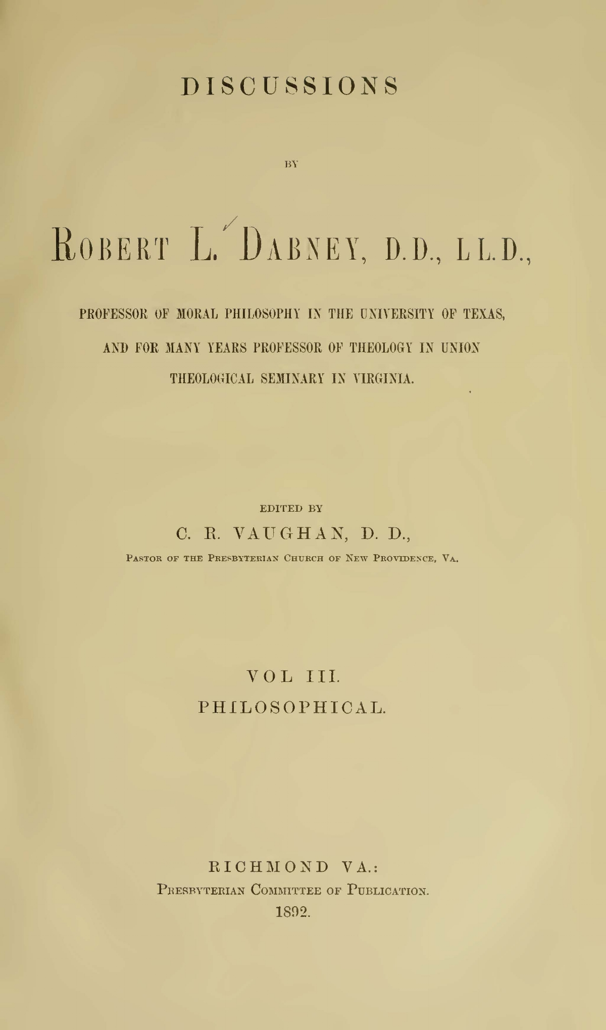 Dabney, Robert Lewis, Discussions Vol. 3 Title Page.jpg