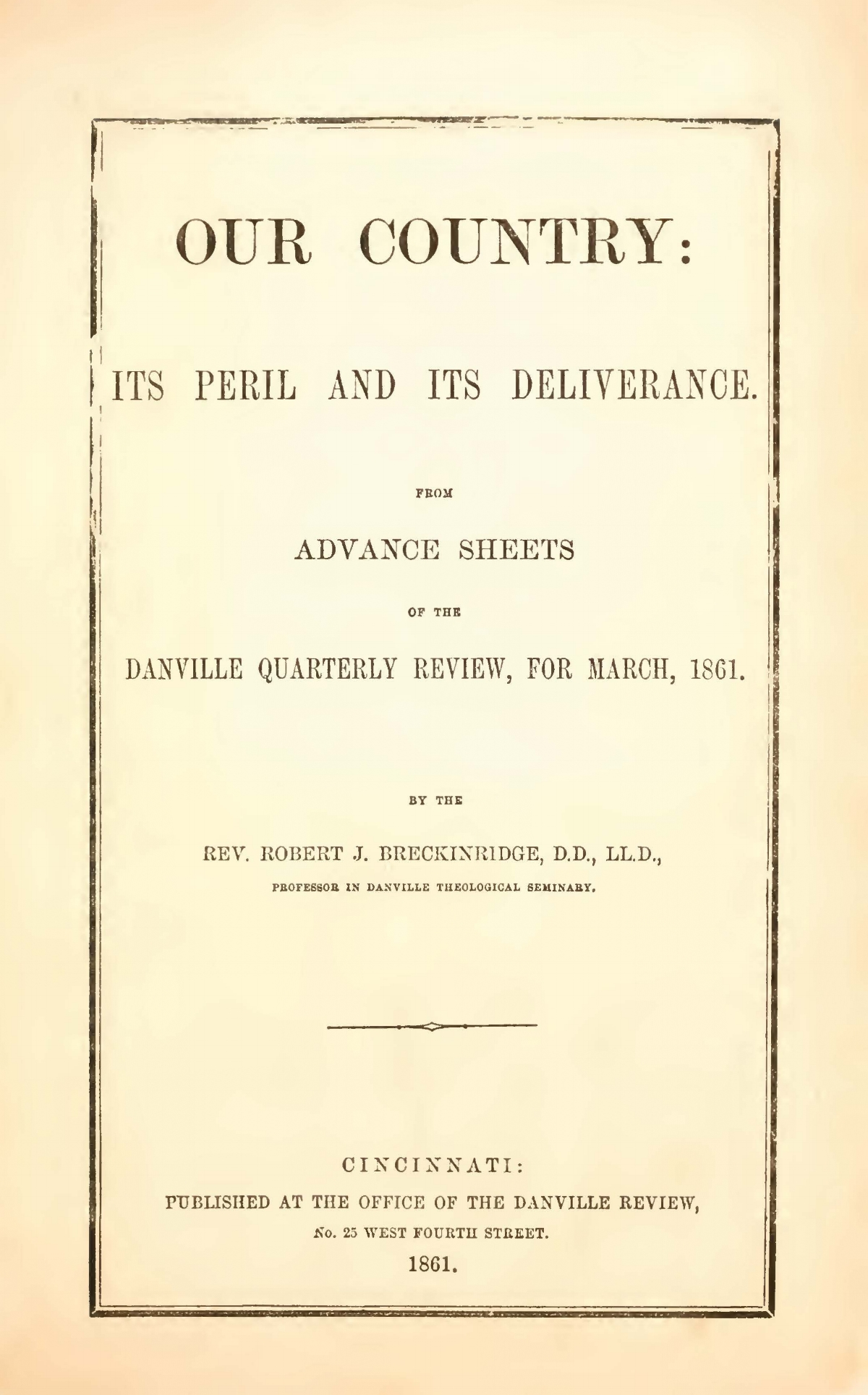 Breckinridge, Robert Jefferson, Our Country Its Peril Title Page.jpg