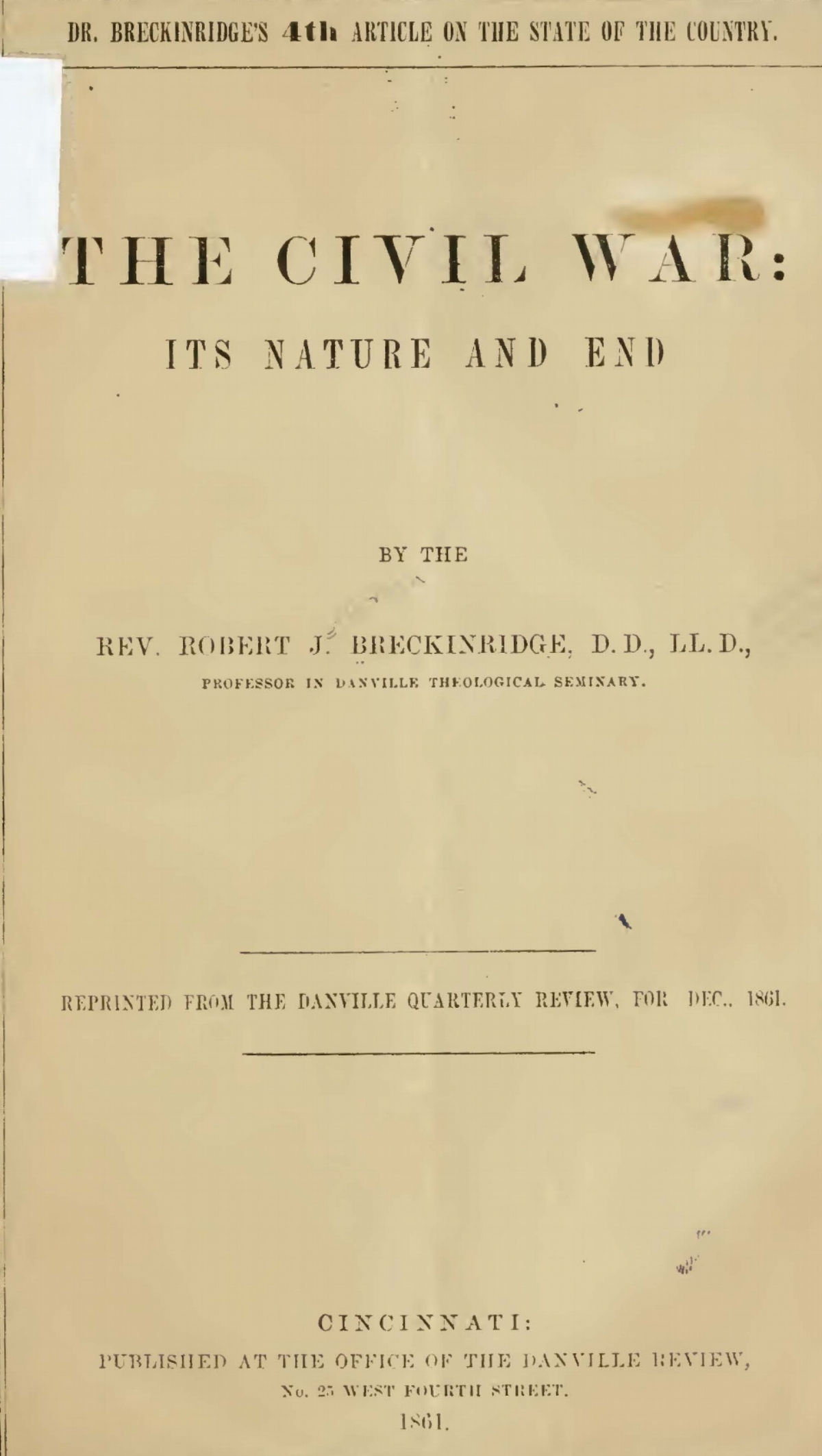 Breckinridge, Robert Jefferson, The Civil War Its Nature and End Title Page.jpg