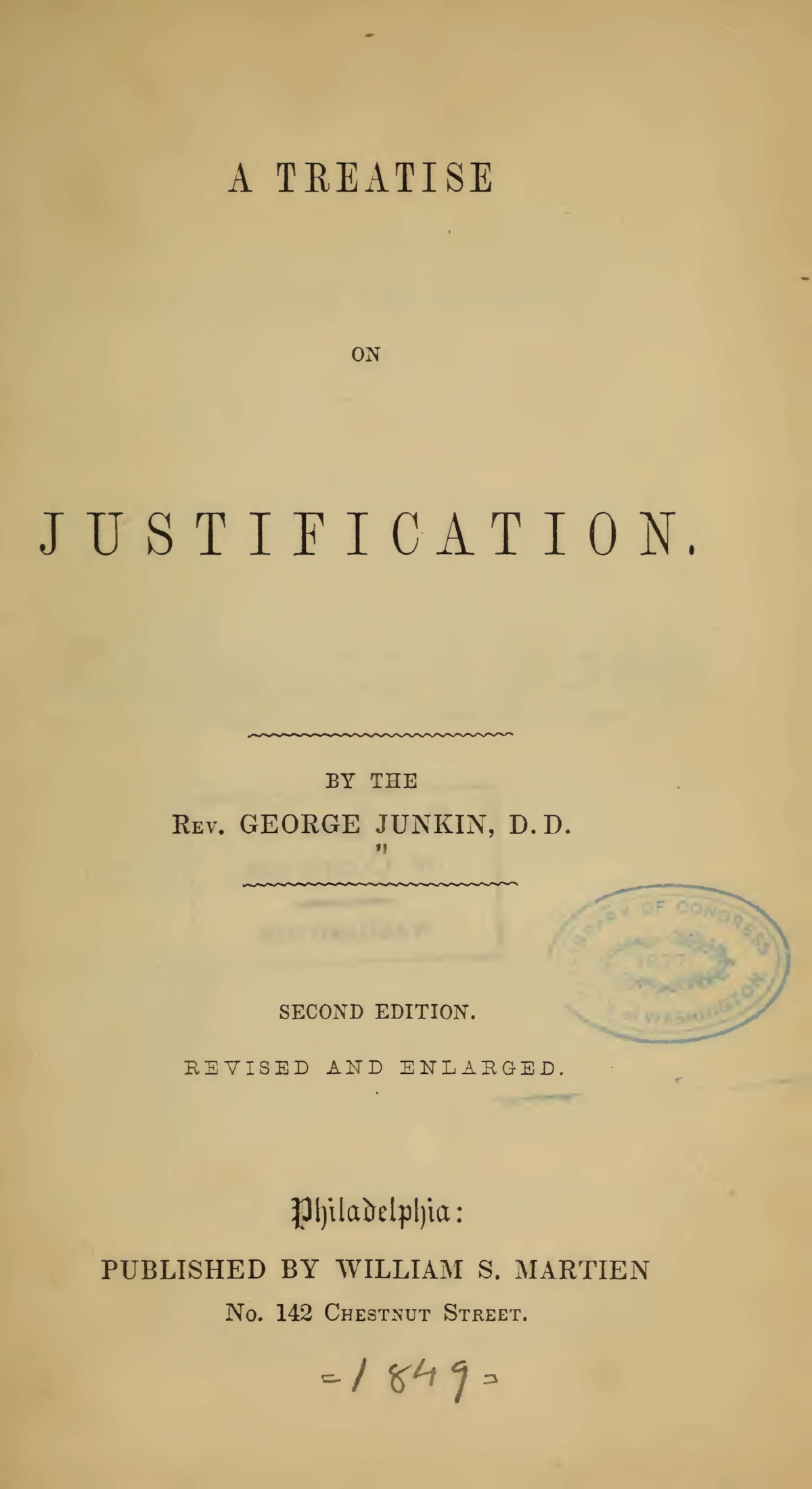 Junkin, George, A Treatise on Justification Title Page.jpg