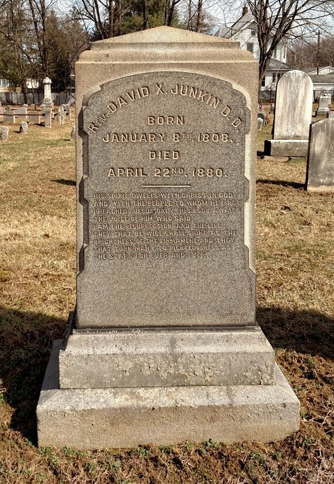 David Xavier Junkin is buried ar Bloomsbury Presbyterian Cemetery, Bloomsbury, New Jersey.