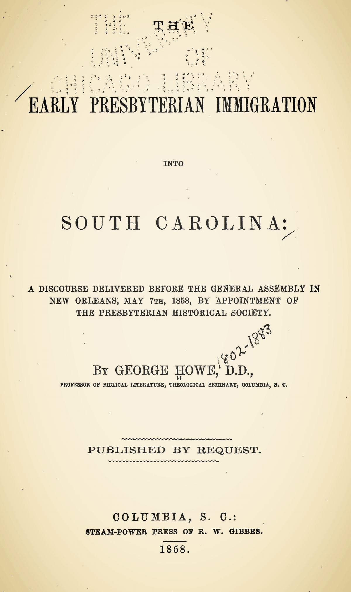 Howe, George, The Early Presbyterian Immigration into South Carolina Title Page.jpg