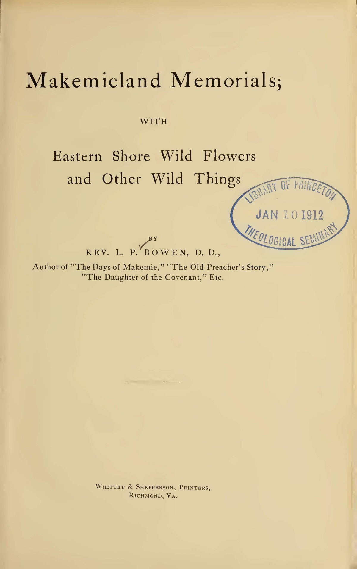 Bowen, Littleton Purnell, Makemieland Memorials With Eastern Shore Wild Flowers and Other Wild Things Title Page.jpg