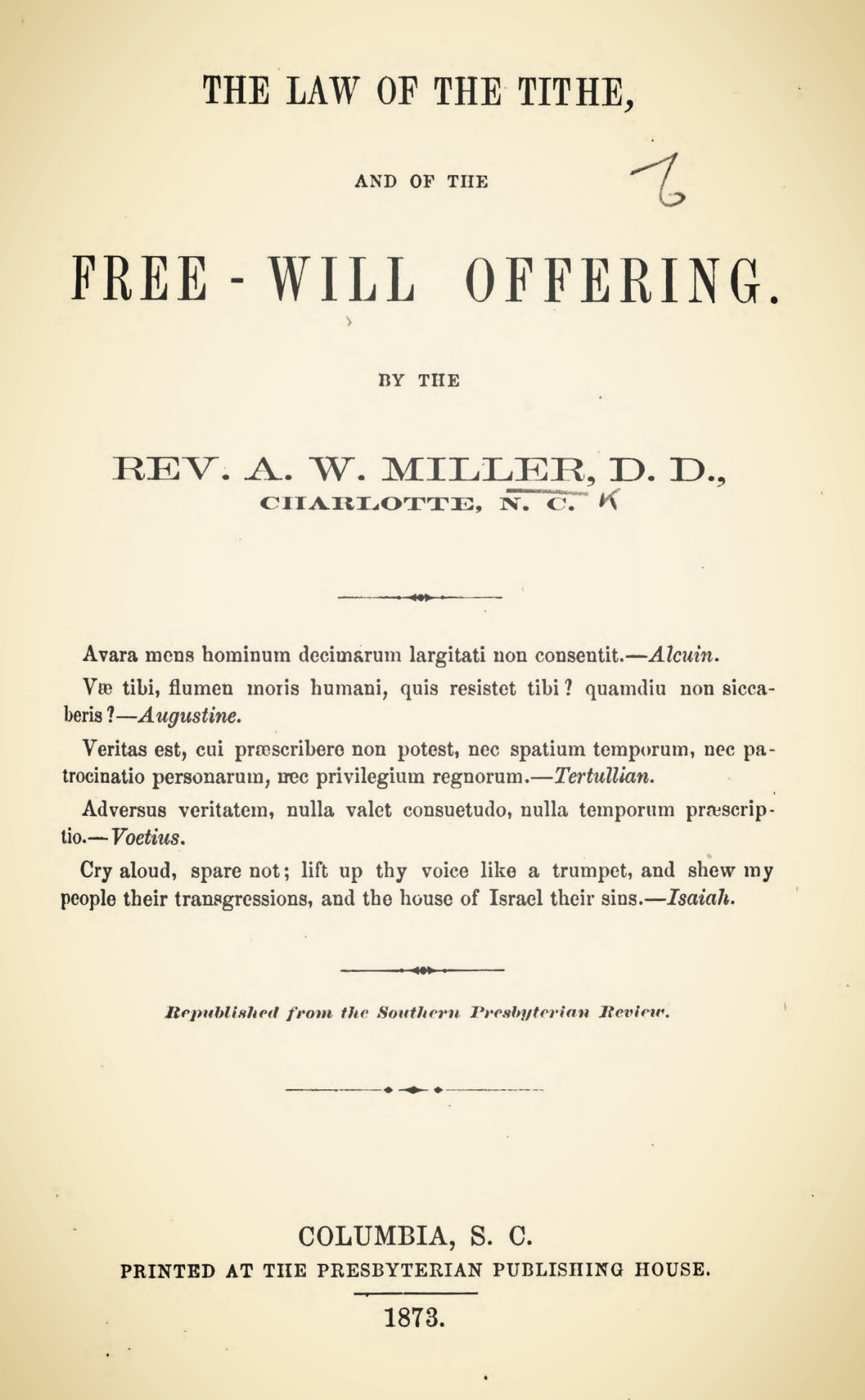 Miller, Arnold W., The Law of the Tithe, and of the Free-Will Offering Title Page.jpg