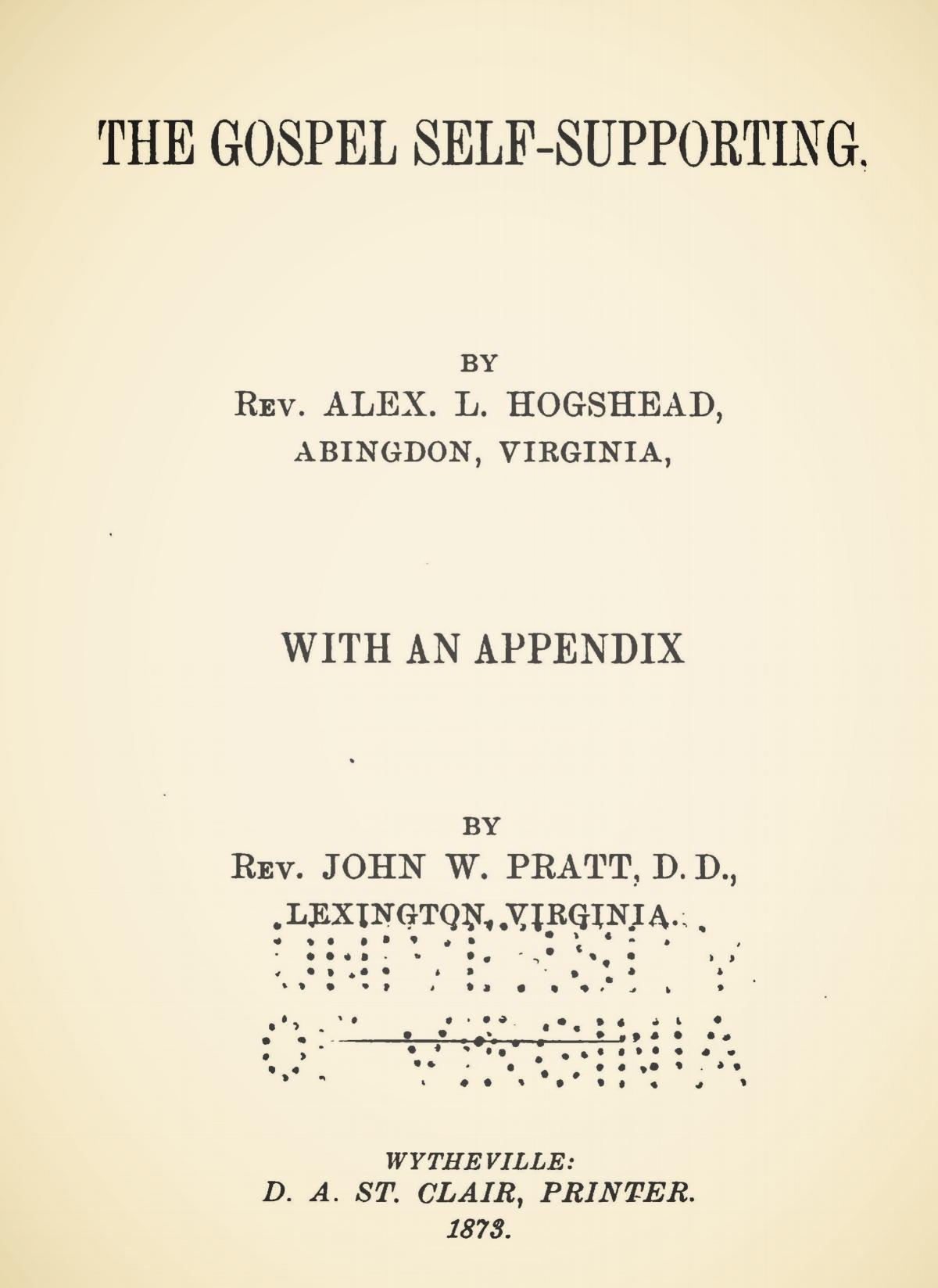 Hogshead, Alexander Lewis, The Gospel Self-Supporting Title Page.jpg