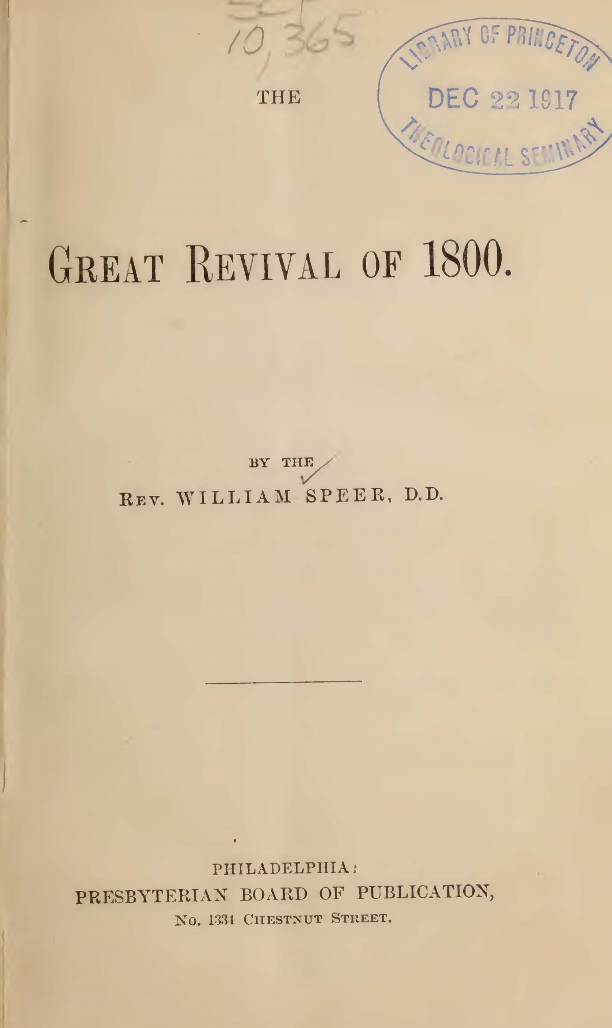 Speer, William, The Great Revival of 1800 Title Page.jpg