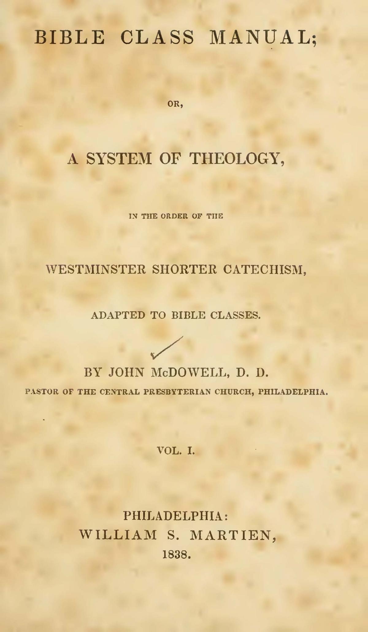 McDowell, John, Bible Class Manual, Vol. 1 Title Page.jpg