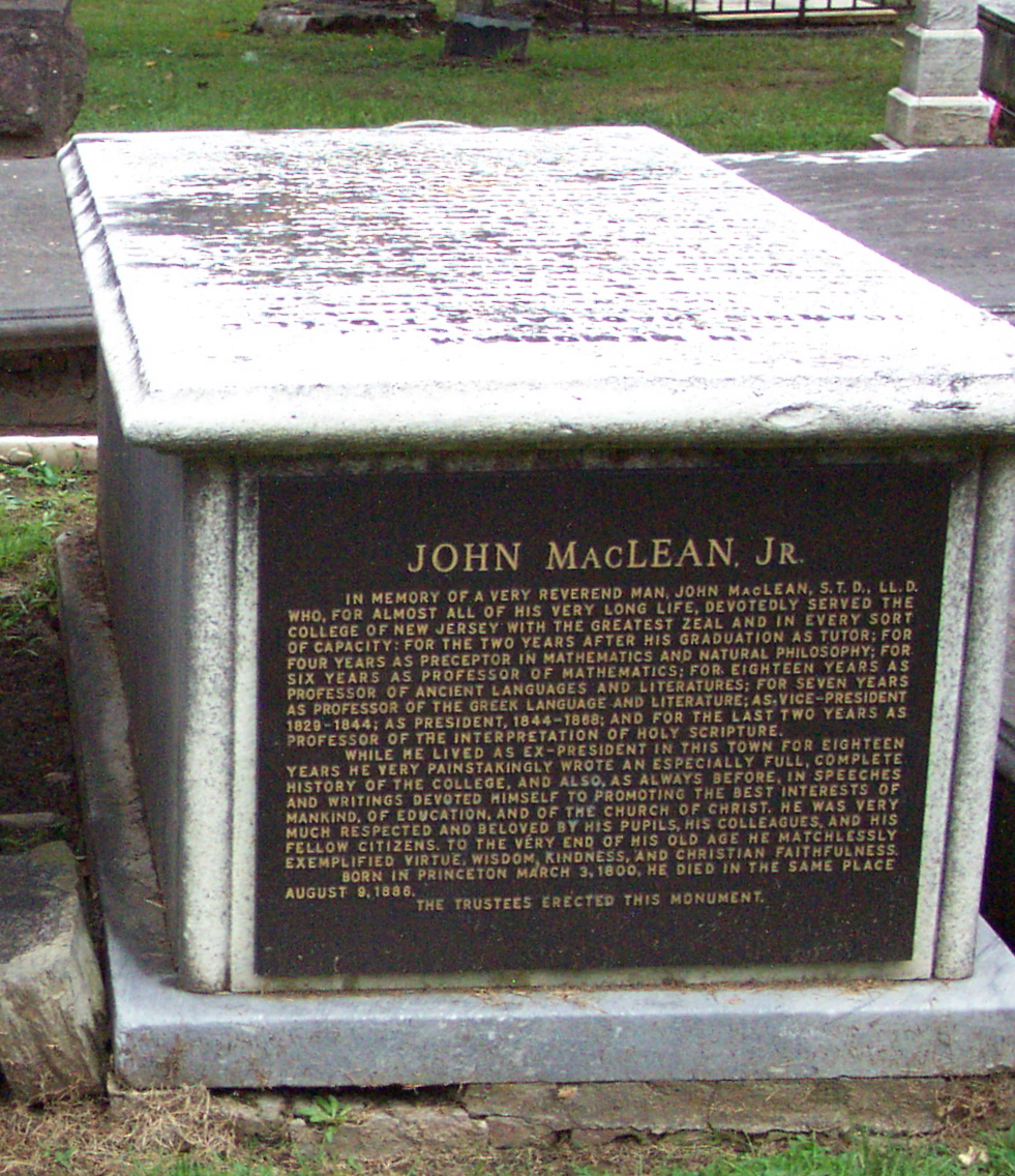 John Maclean, Jr. is buried at Princeton Cemetery, Princeton, New Jersey.