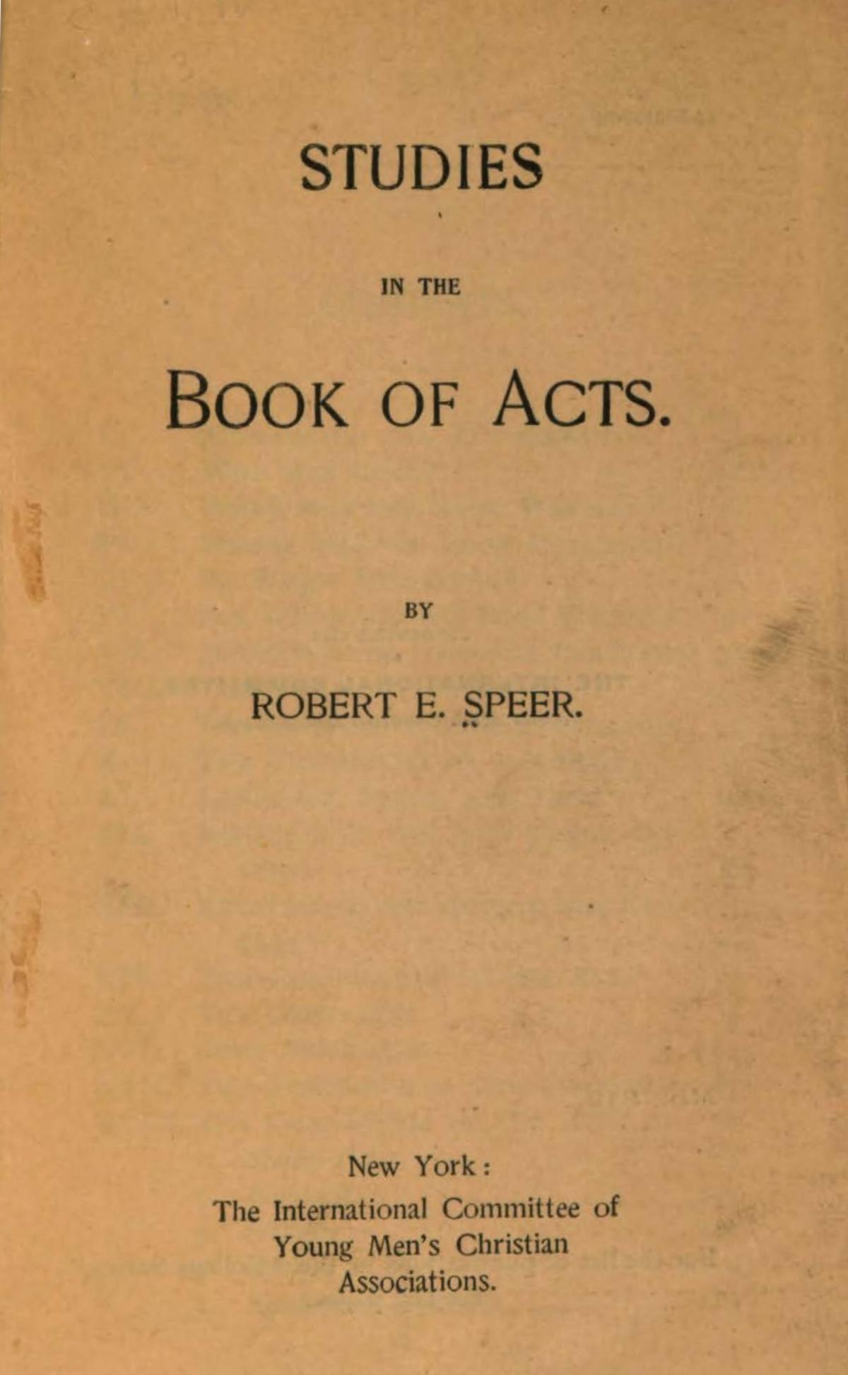 Speer, Robert Elliott, Studies in the Book of Acts Title Page.jpg