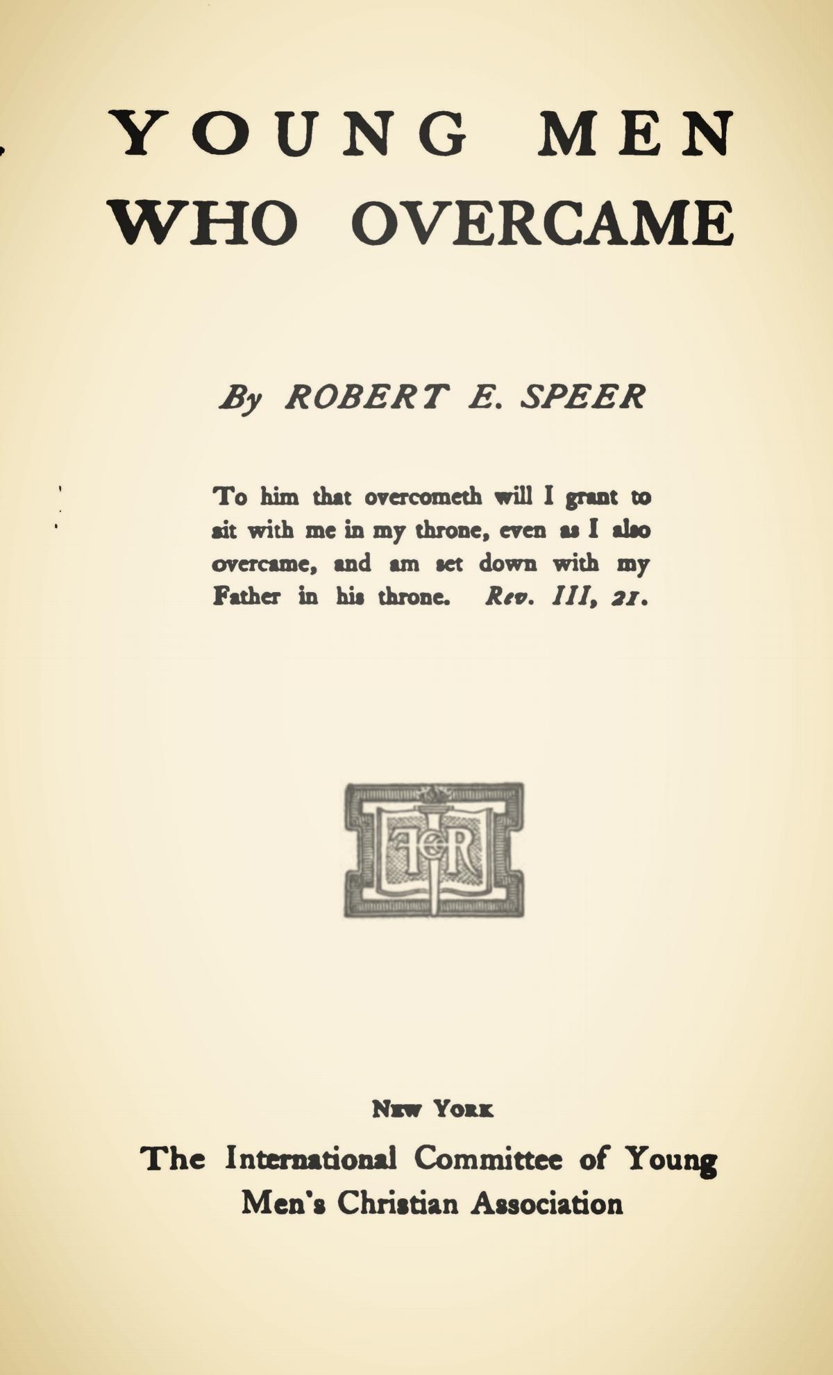 Speer, Robert Elliott, Young Men Who Overcame Title Page.jpg
