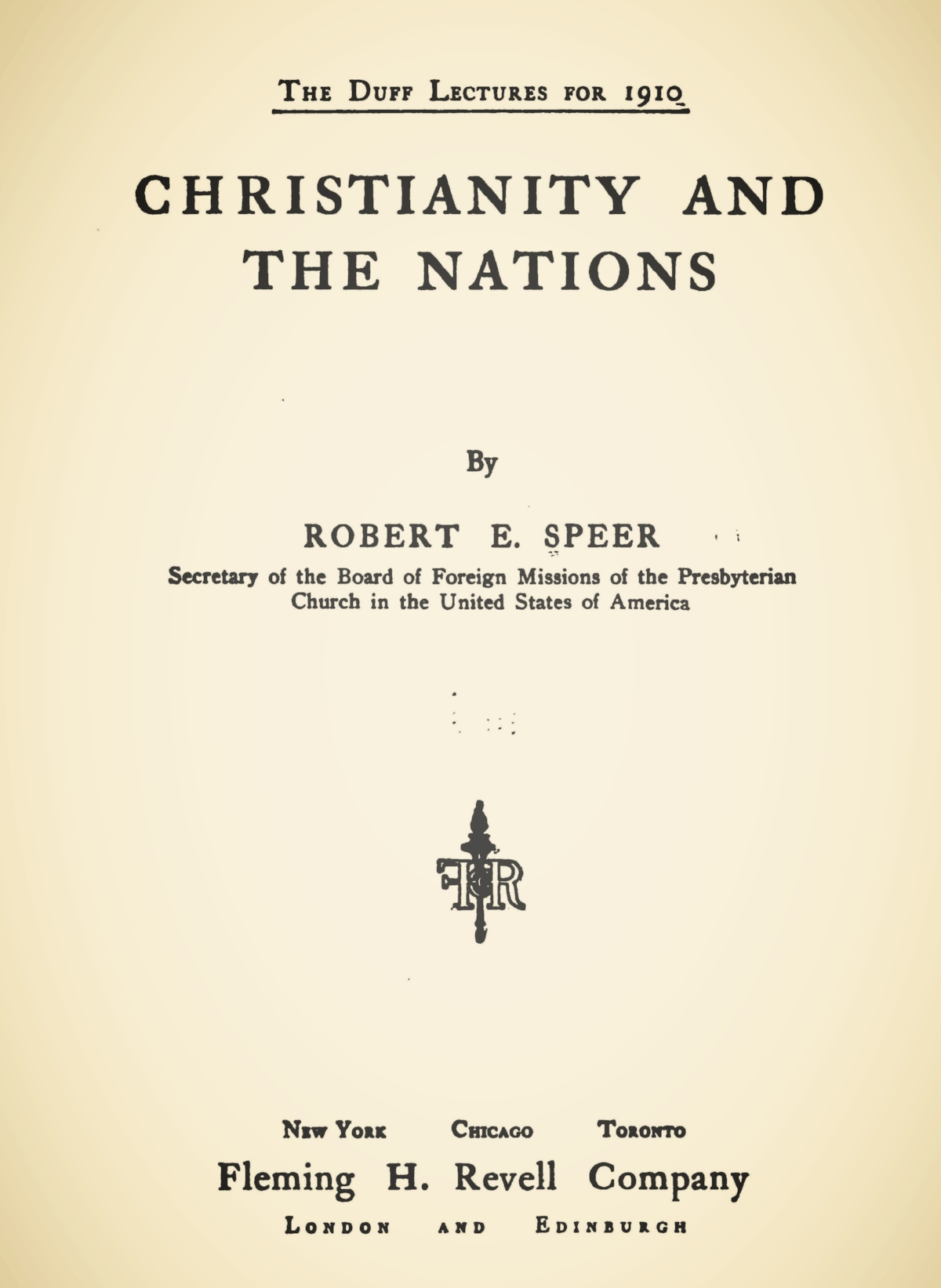 Speer, Robert Elliott, Christianity and the Nations Title Page.jpg
