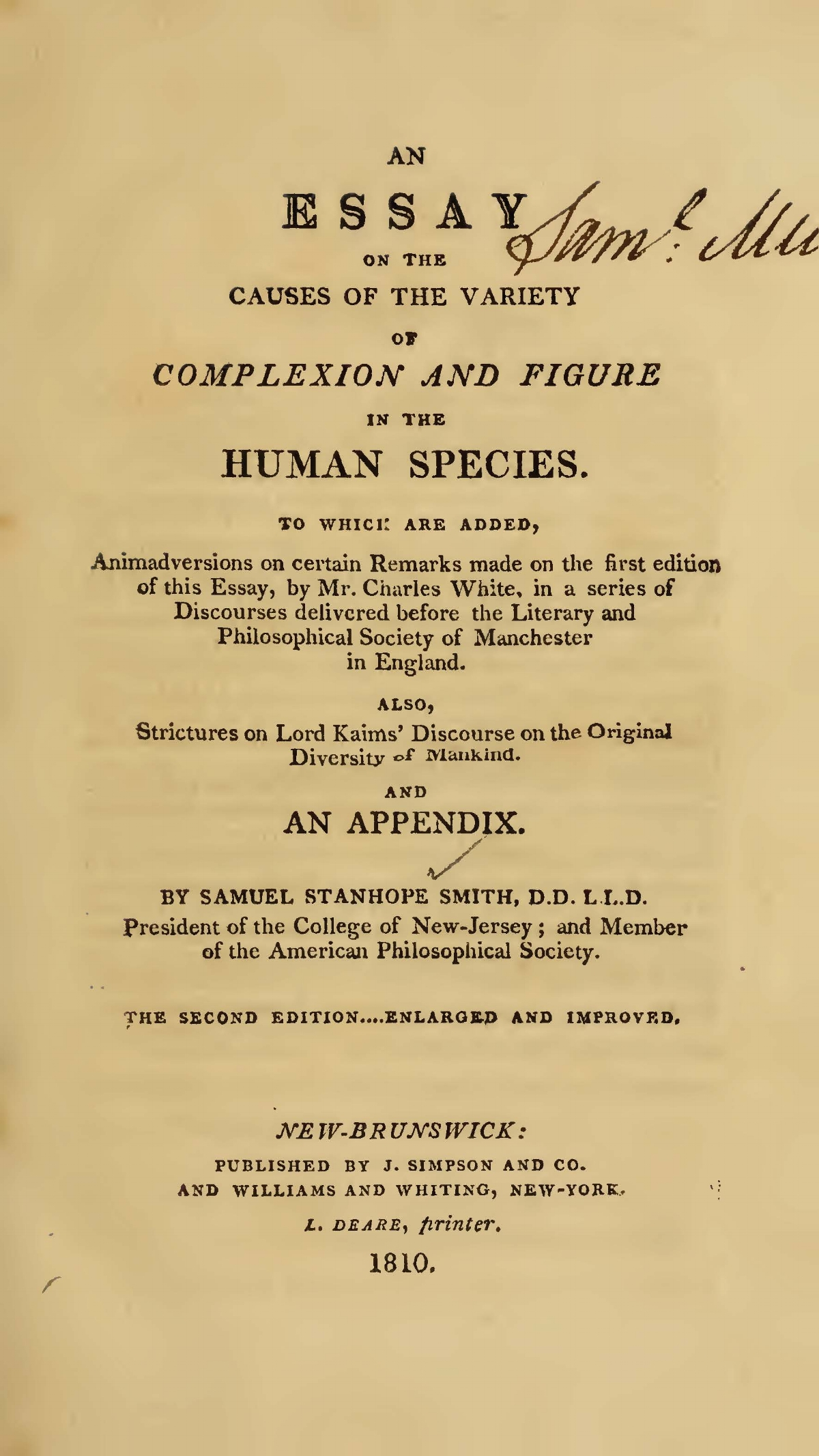 Smith, Samuel Stanhope, An Essay on the Causes of the Variety of Complexion and Figure in the Human Species Title Page.jpg
