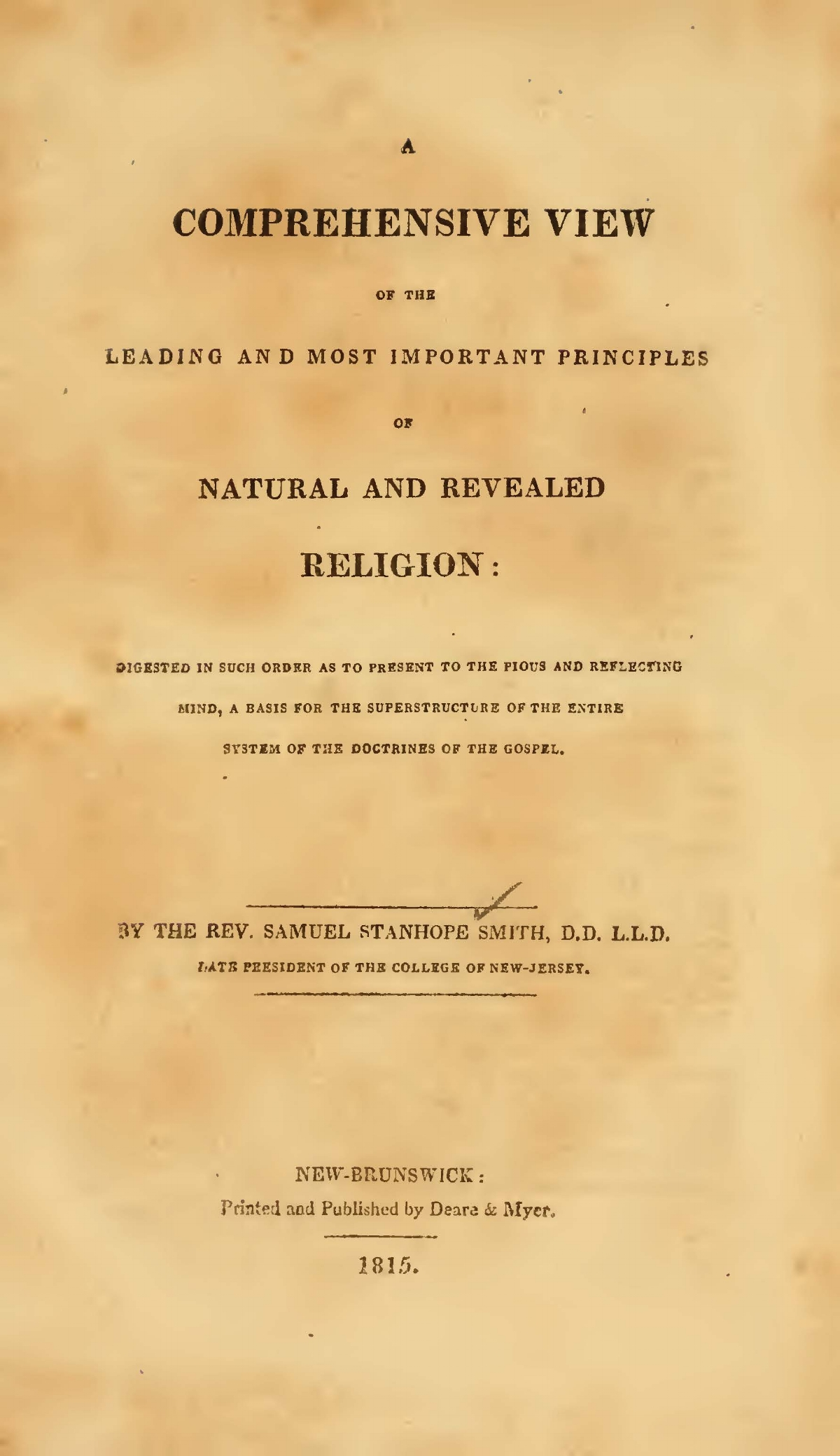 Smith, Samuel Stanhope, A Comprehensive View of the Leading and Most Important Principles of Natural and Revealed Religion Title Page.jpg