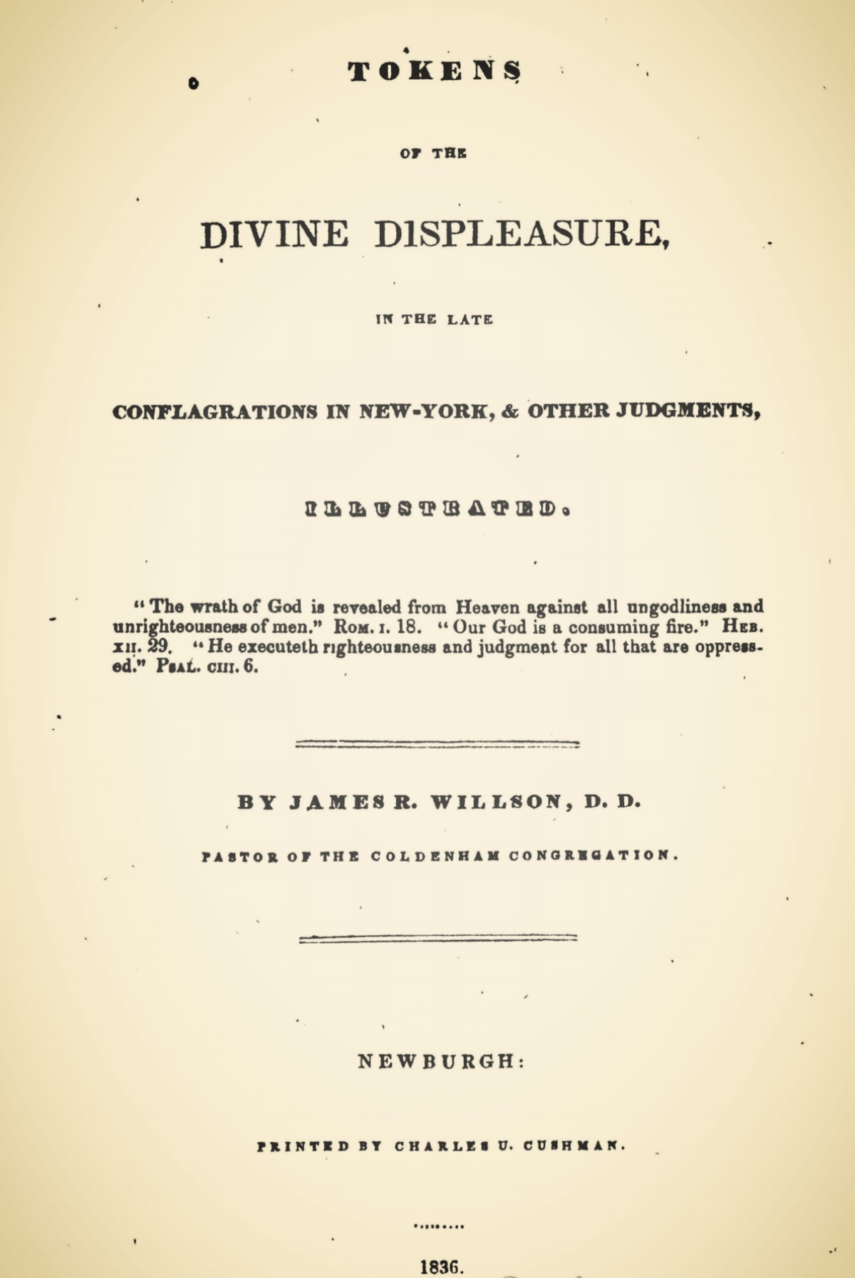 Willson, James Renwick, Tokens of the Divine Displeasure Title Page.jpg