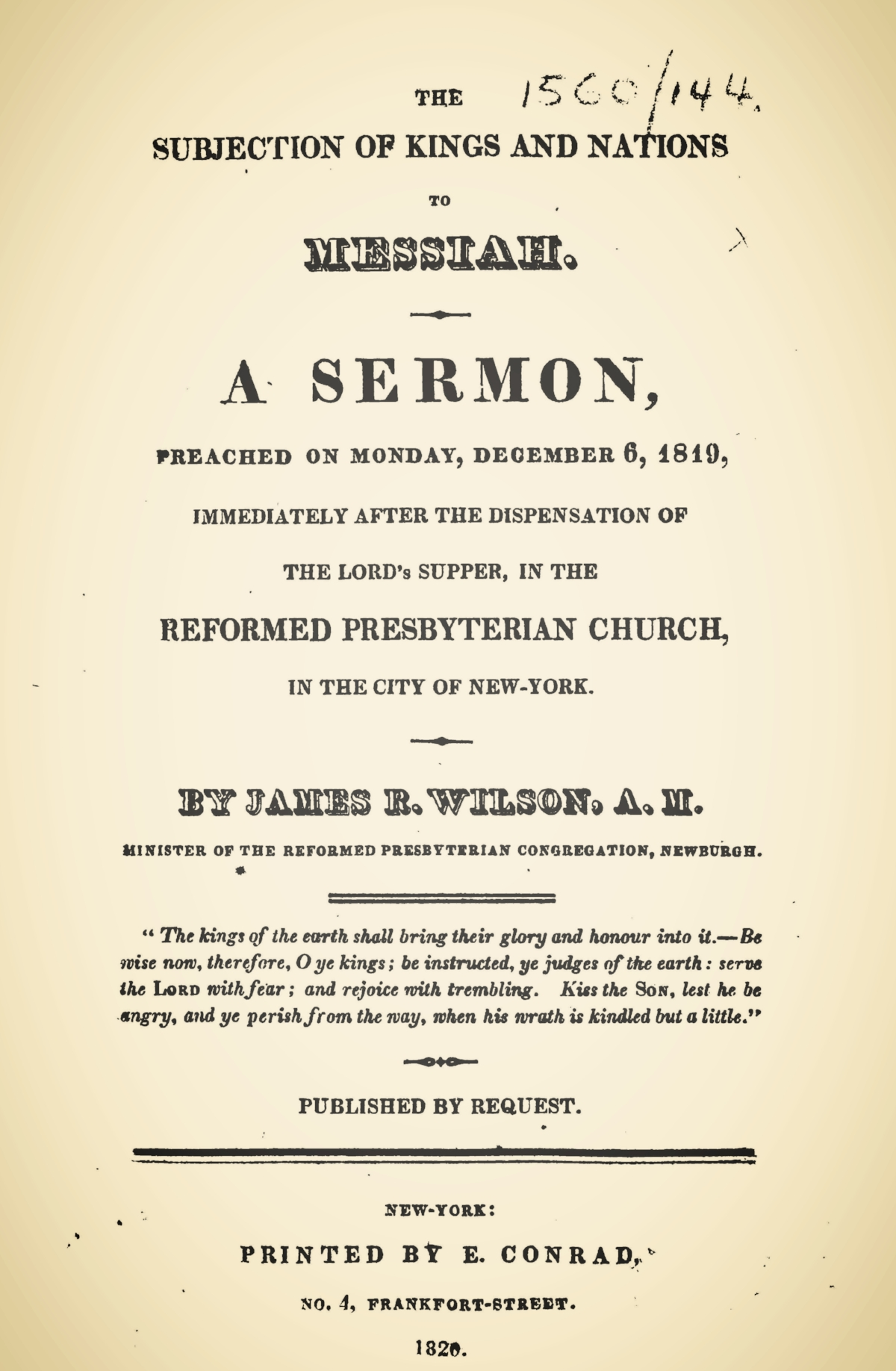 Willson, James Renwick, The Subjection of Kings and Nations to Messiah Title Page.jpg
