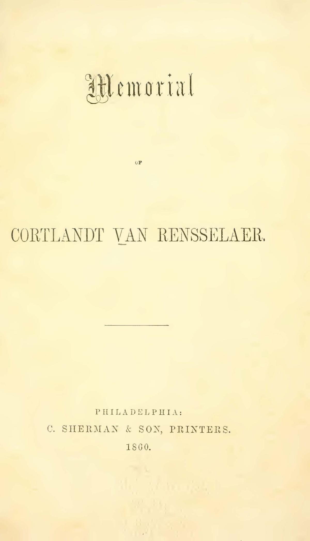 Boardman, Henry Augustus, Memorial of Cortlandt Van Rensselaer Title Page.jpg