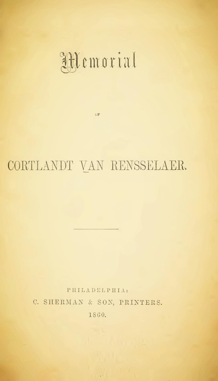 Hodge, Charles, Memorial of Cortlandt Van Rensselaer Title Page.jpg
