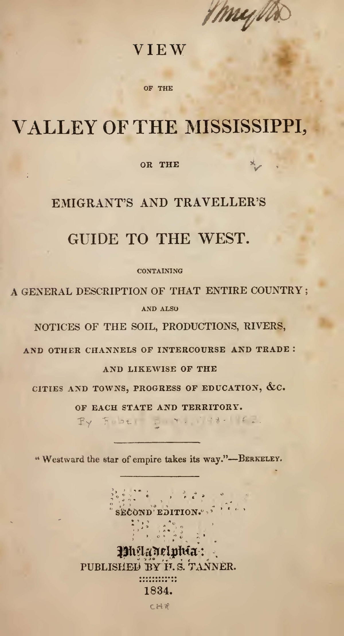 Baird, Robert, View of the Valley of the Mississippi Title Page.jpg