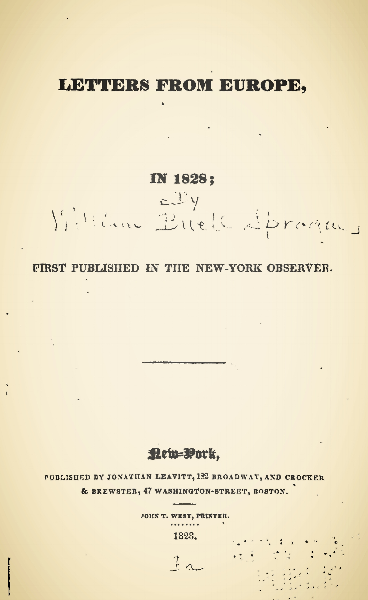 Sprague, William Buell, Letters From Europe, in 1828 Title Page.jpg