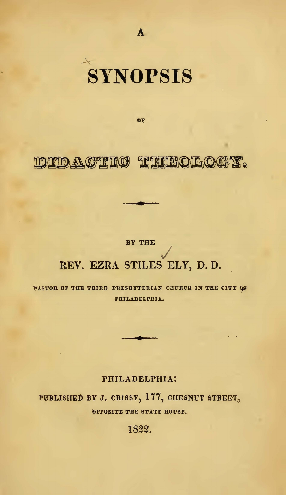 Ely, Ezra Stiles, A Synopsis of Didactic Theology Title Page.jpg