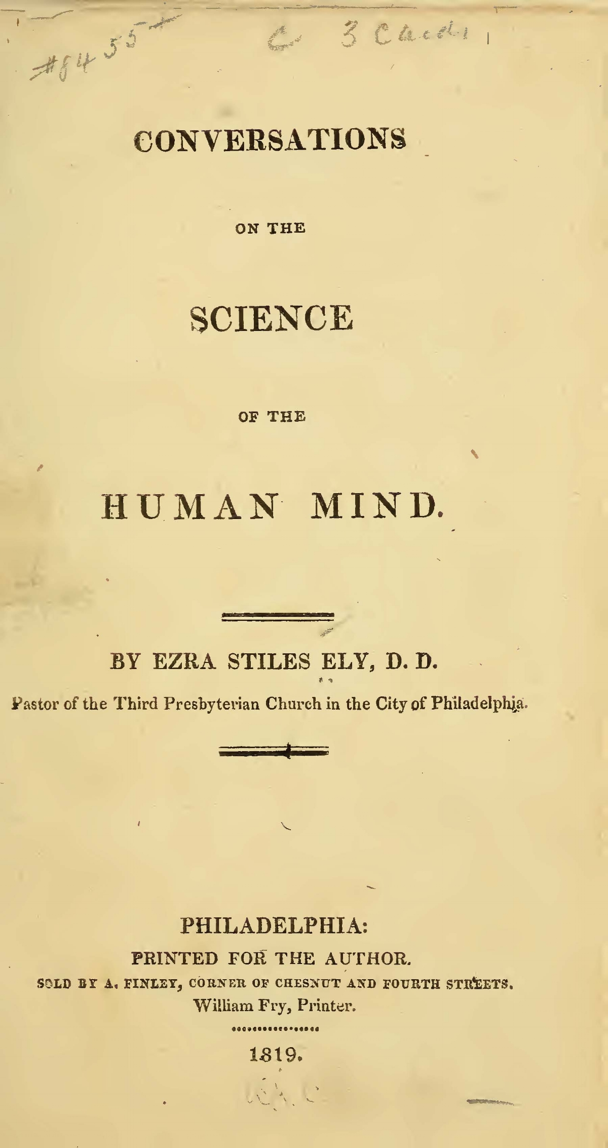 Ely, Ezra Stiles, Conversations on the Science of the Human Mind Title Page.jpg