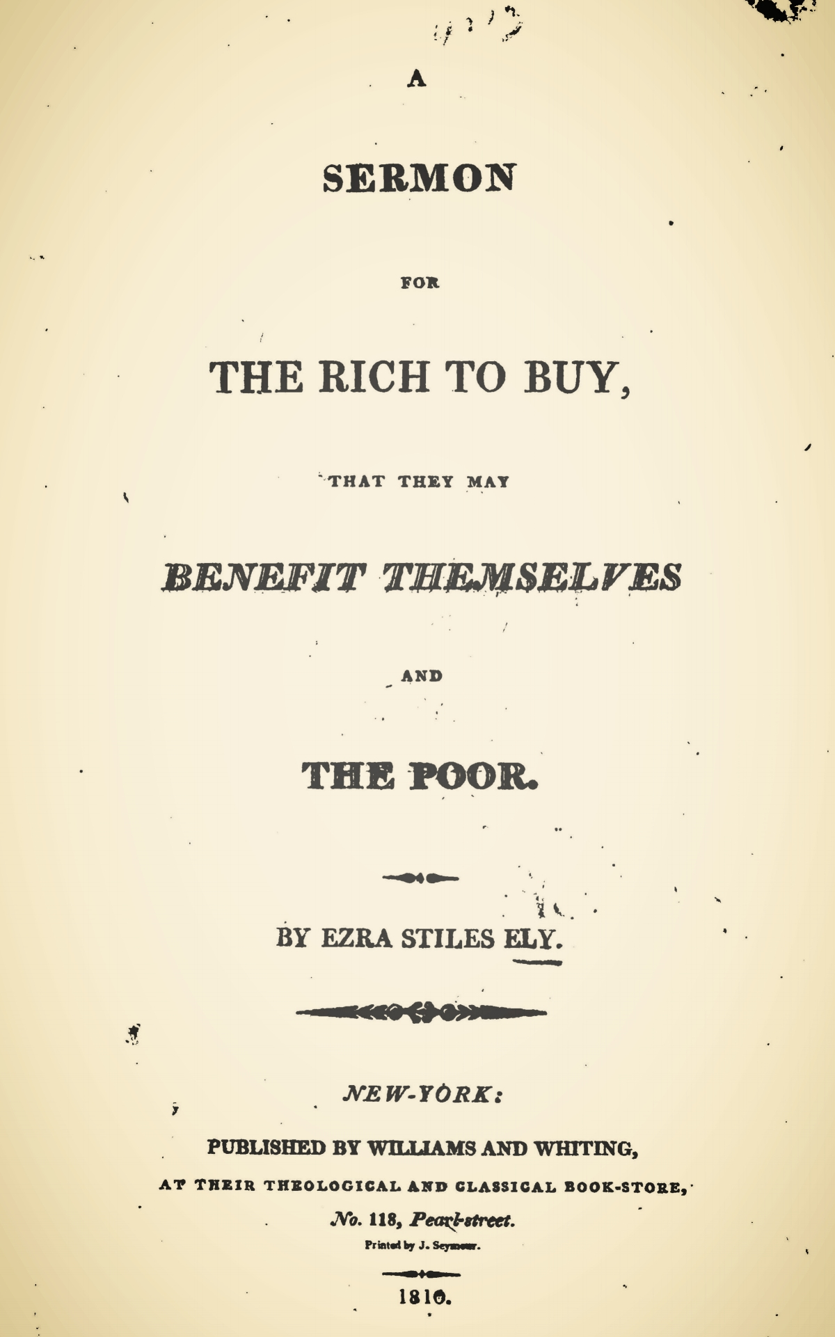 Ely, Ezra Stiles, A Sermon for the Rich to Buy Title Page.jpg