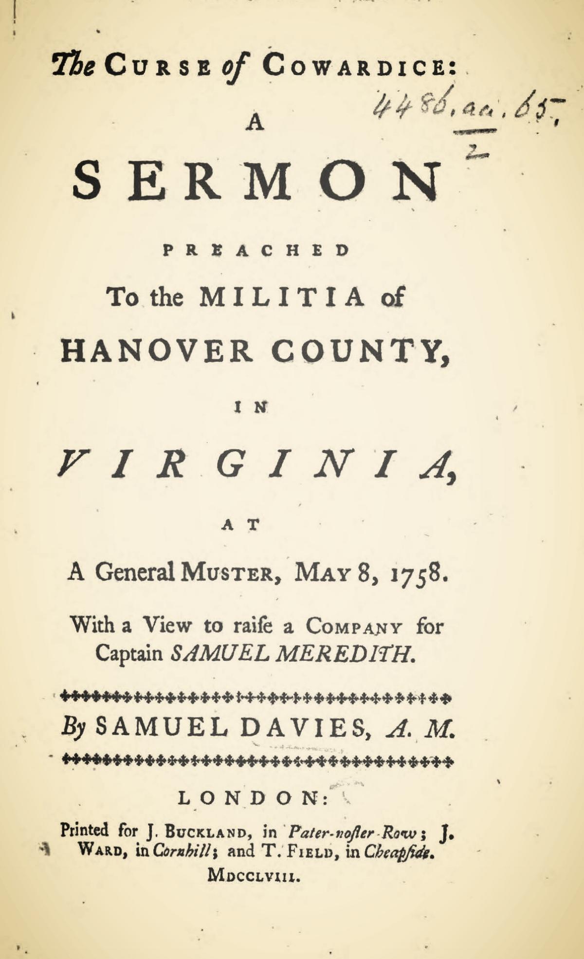 Davies, Samuel, The Curse of Cowardice A Sermon Title Page.jpg
