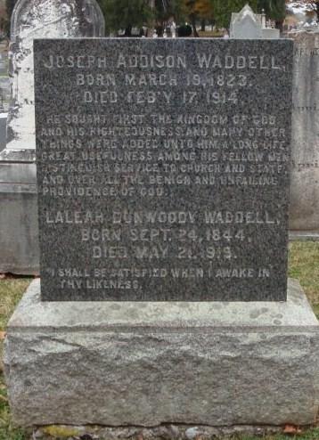 Joseph Addison Waddell is buried at Thornrose Cemetery, Staunton, Virginia.