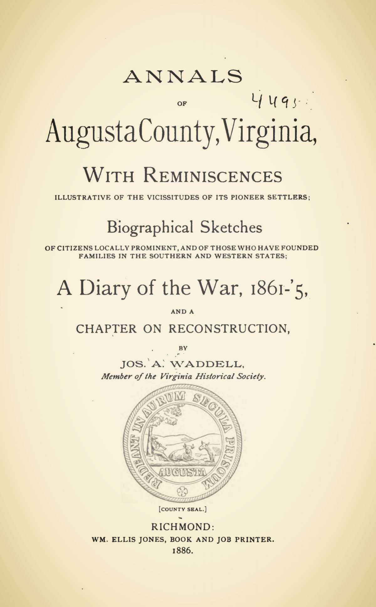 Waddell, Joseph Addison, Annals of Augusta County, Virginia, With Reminiscences Title Page.jpg