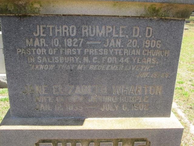 Jethro Rumple is buried at Chestnut Hill Cemetery, Salisbury, North Carolina.