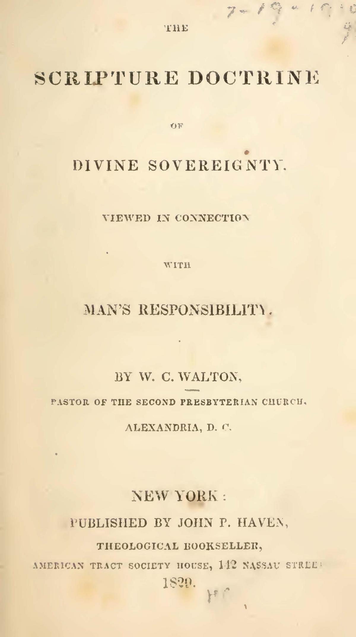 Walton, William Claiborne, The Scripture Doctrine of Divine Sovereignty Title Page.jpg