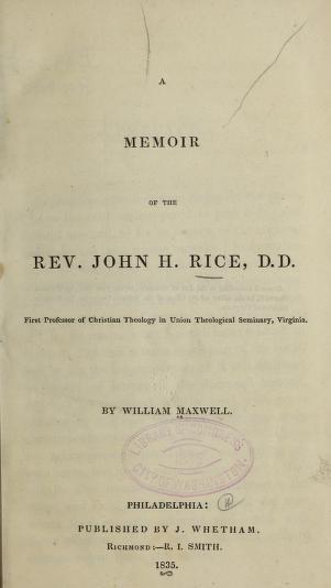 Maxwell, Memoir of John Holt Rice.jpg