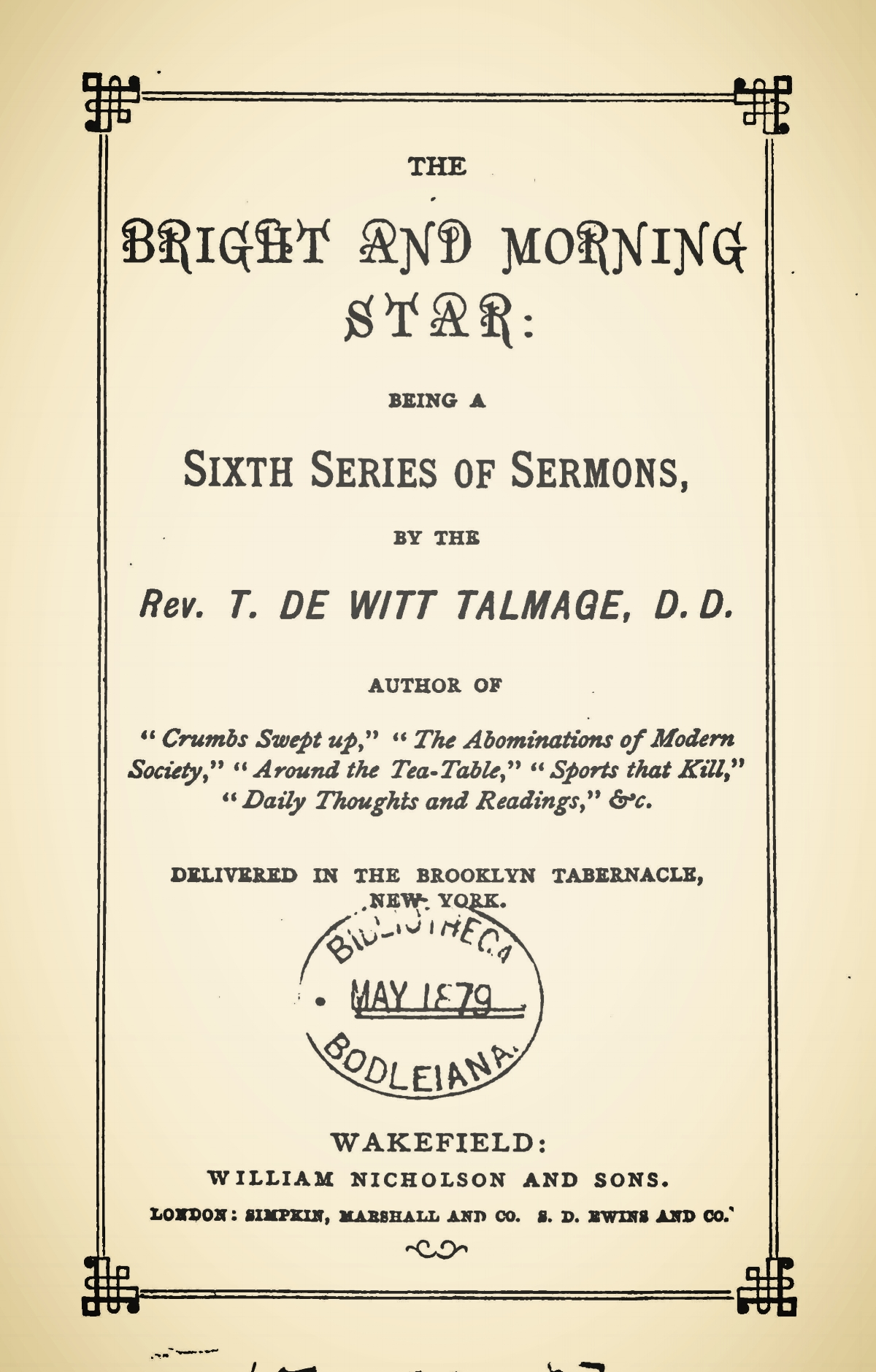 Talmage, Thomas De Witt, The Bright and Morning Star Title Page.jpg