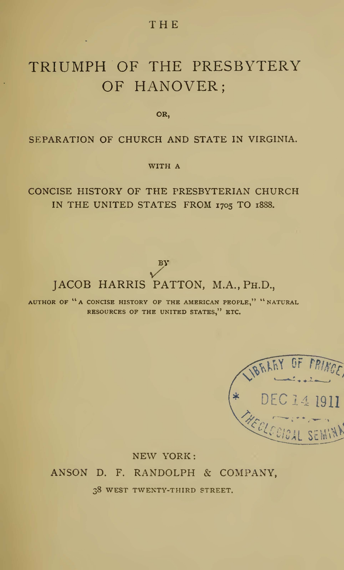 Patton, Jacob Harris, The Triumph of the Presbytery of Hanover Title Page.jpg