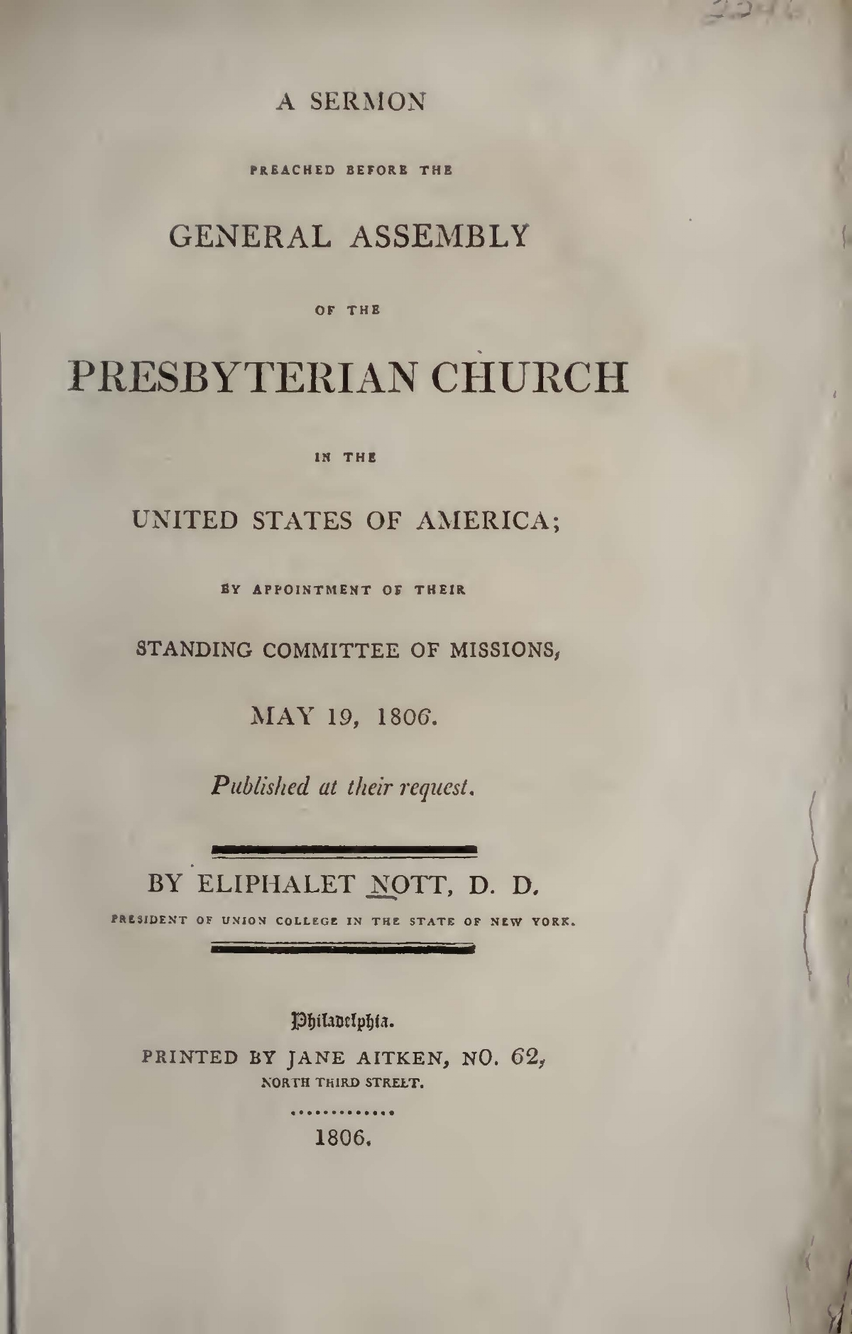 Nott, Eliphalet, Sermon Preached before the General Assembly of the PCUSA on Missions Title Page.jpg