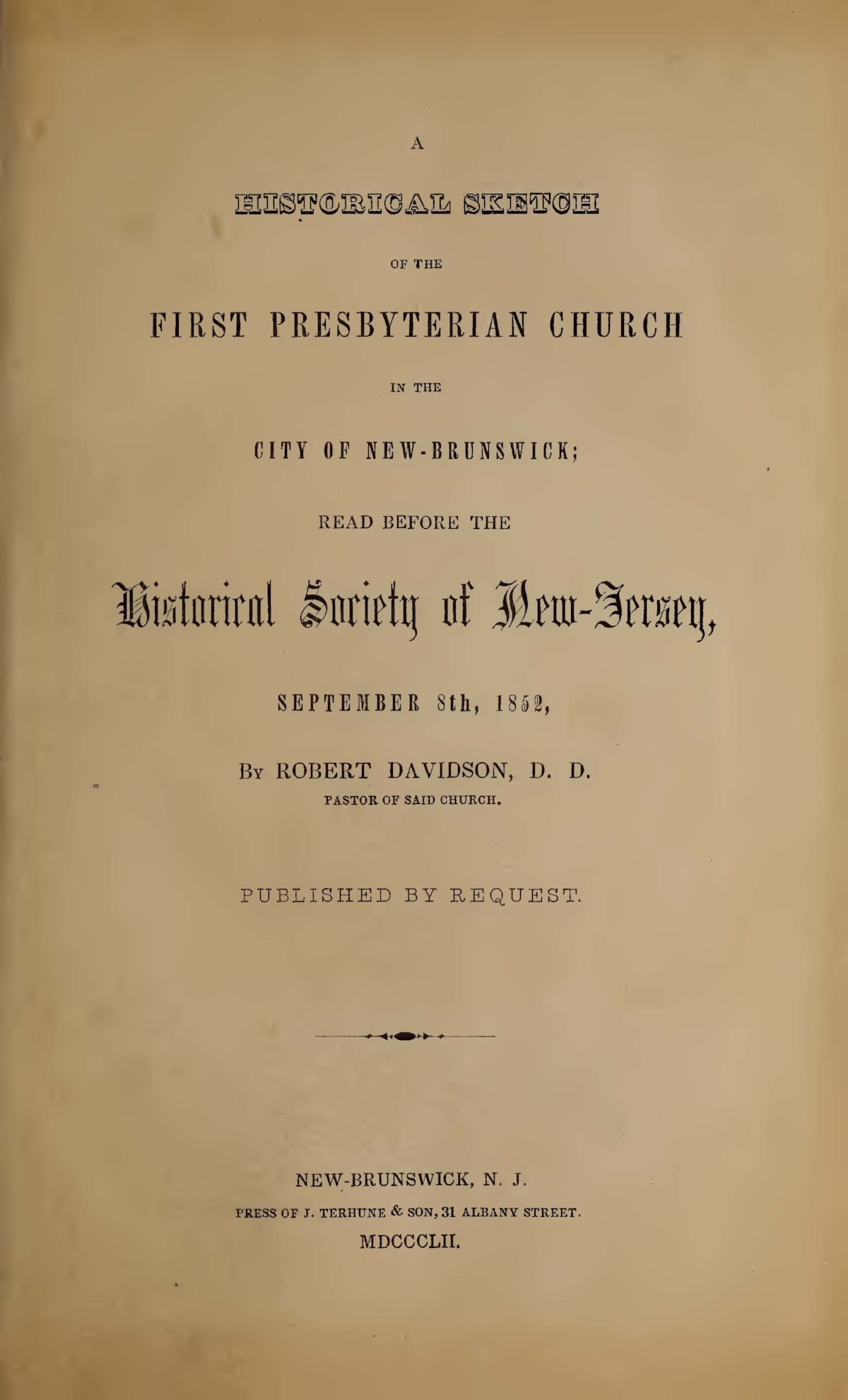 Davidson, Robert, A Historical Sketch of the First Presbyterian Church in the City of New-Brunswick Title Page.jpg