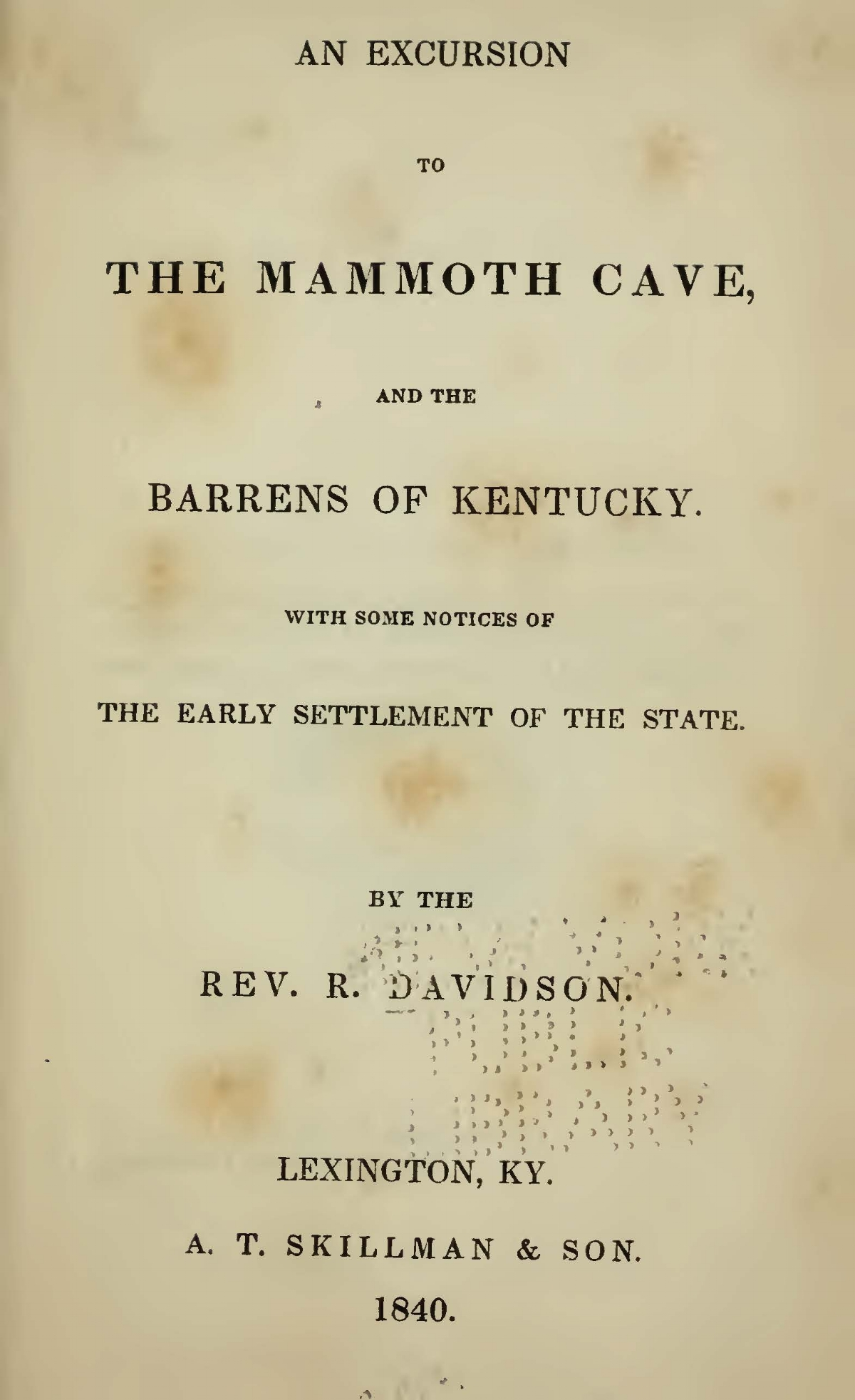 Davidson, Robert, An Excursion to the Mammoth Cave Title Page.jpg